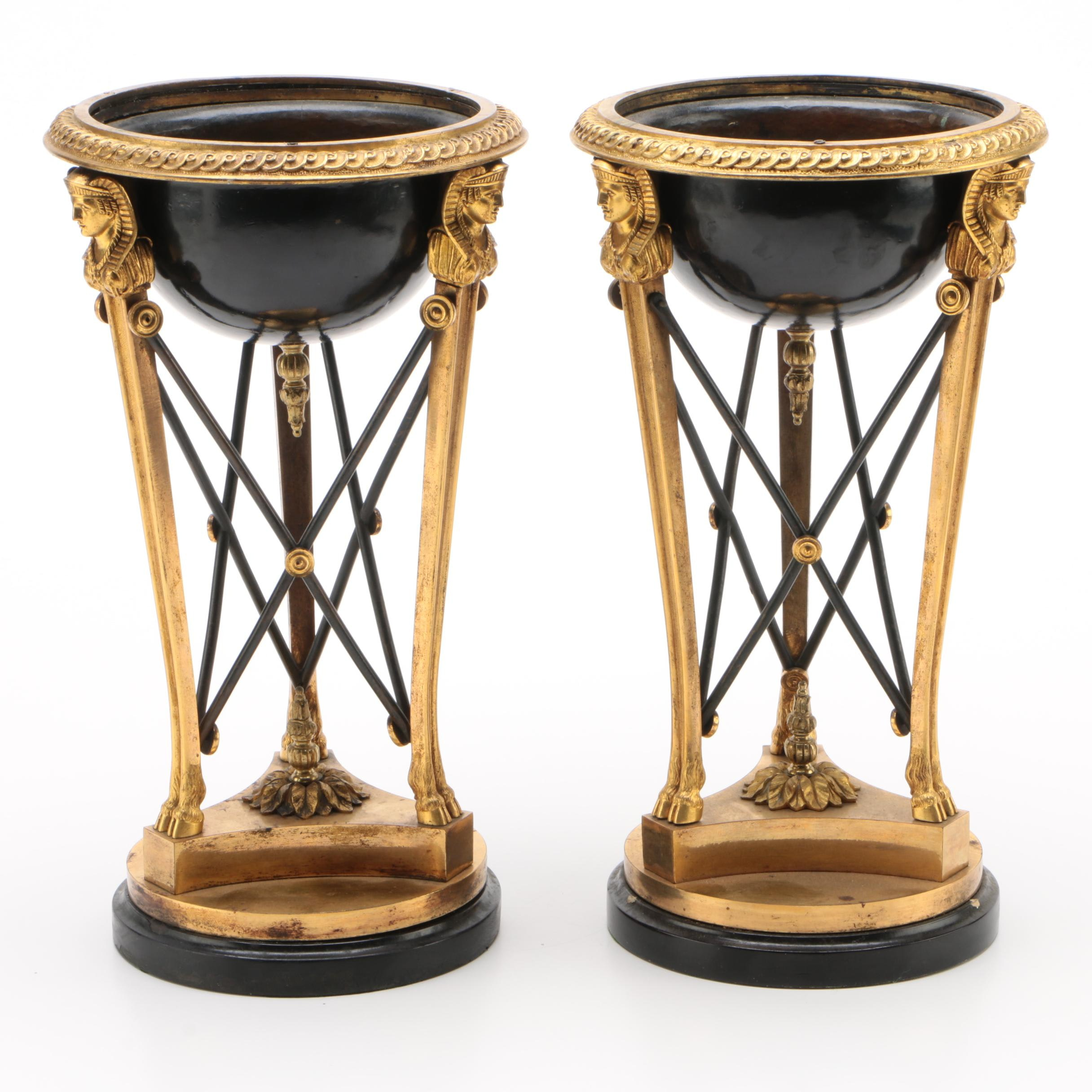 Pair of Empire Style Ebonized and Gilt Metal Pedestal Planters