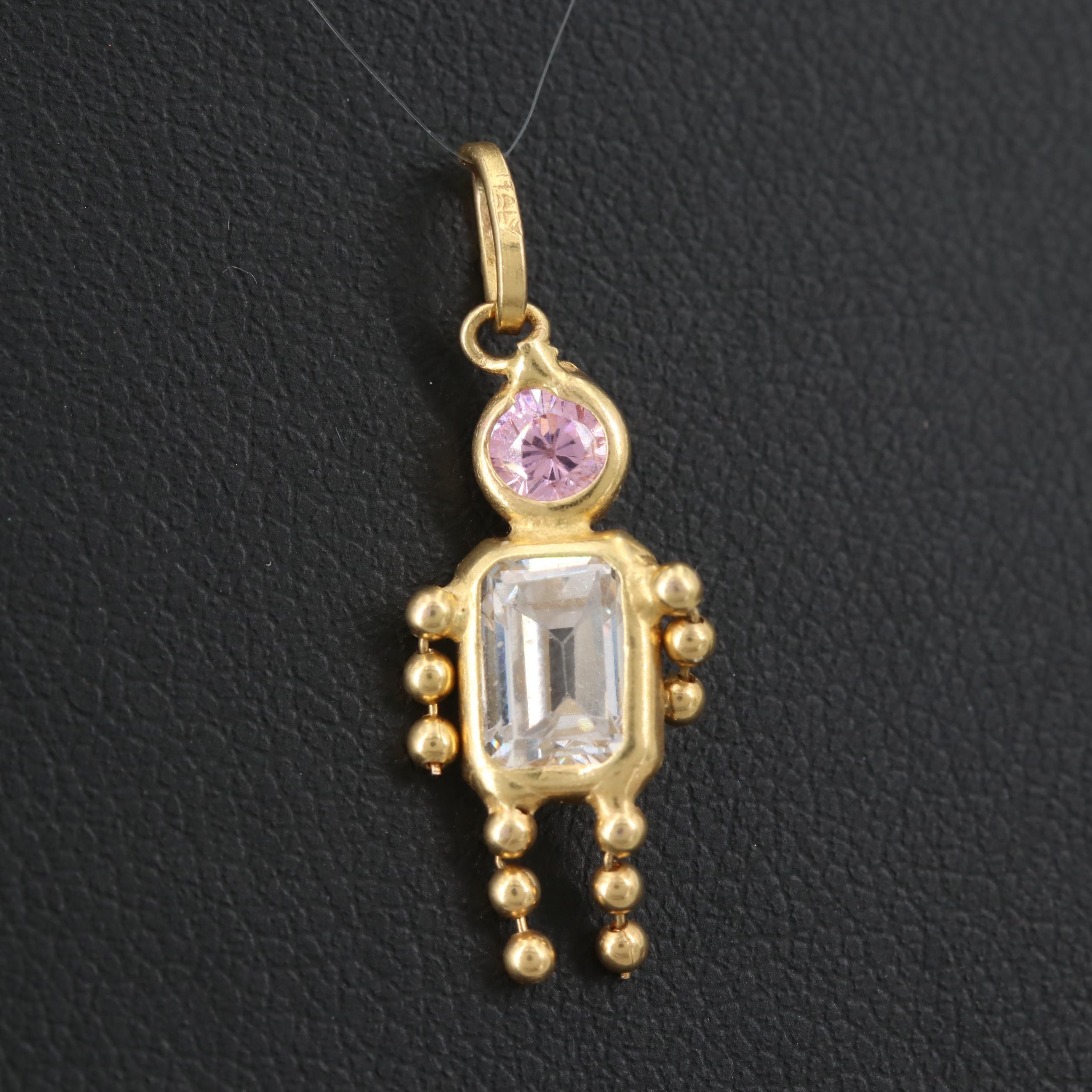 14K Yellow Gold Childrens Cubic Zirconia Birthstone Style Pendant