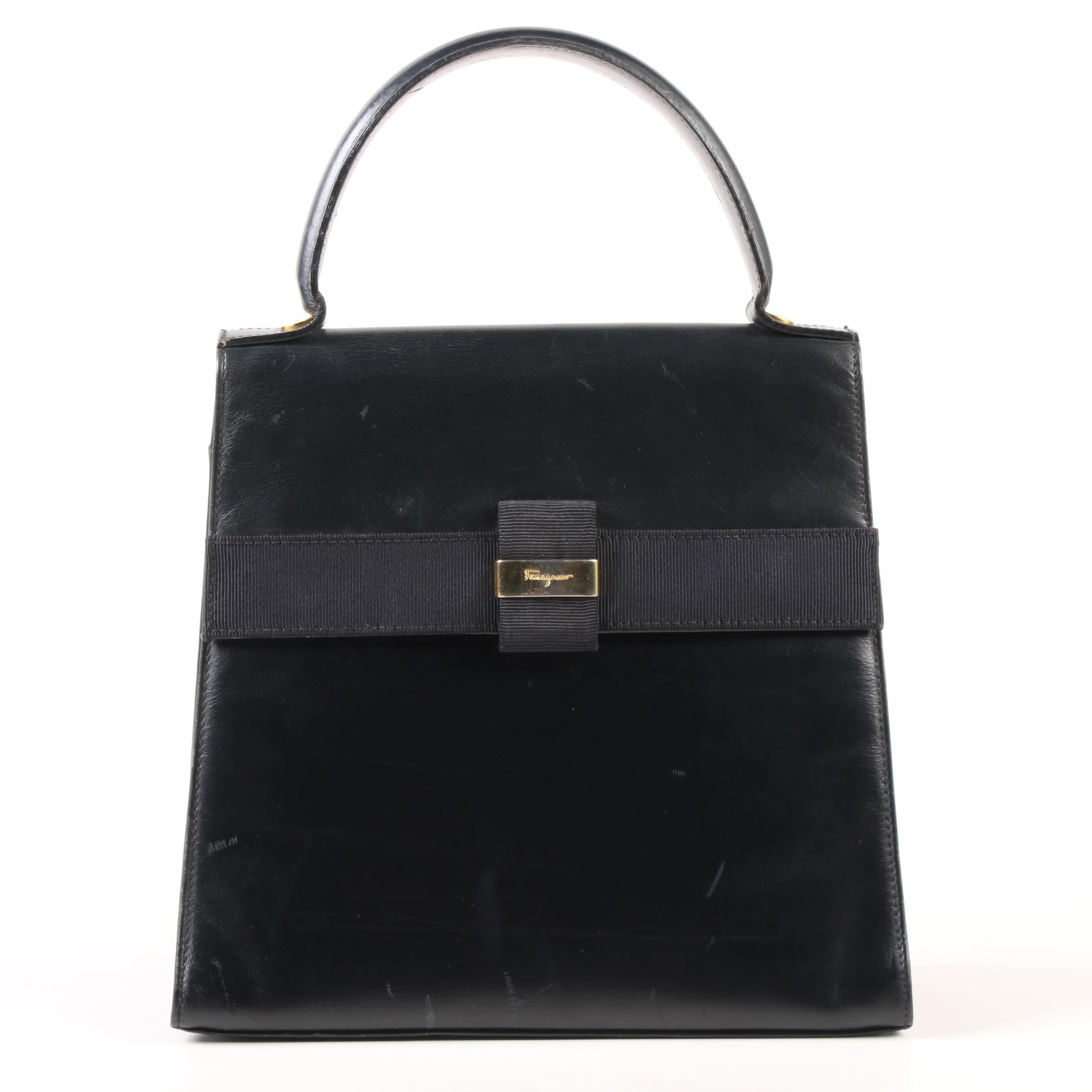 Salvatore Ferragamo Deep Midnight Blue Leather Vera Bow Bag, Vintage