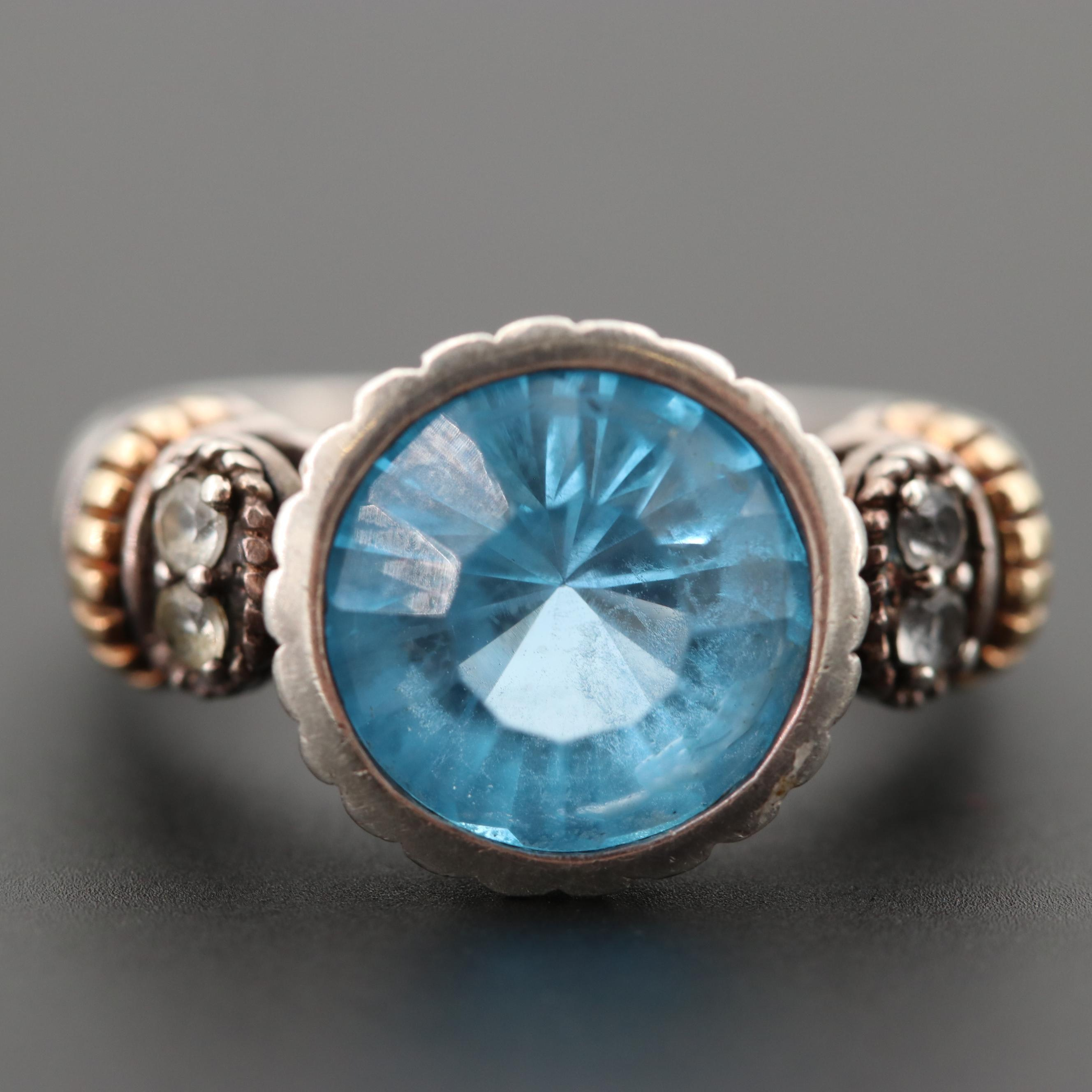 Sterling Silver Blue and White Topaz Ring with 14K Yellow Gold Accents