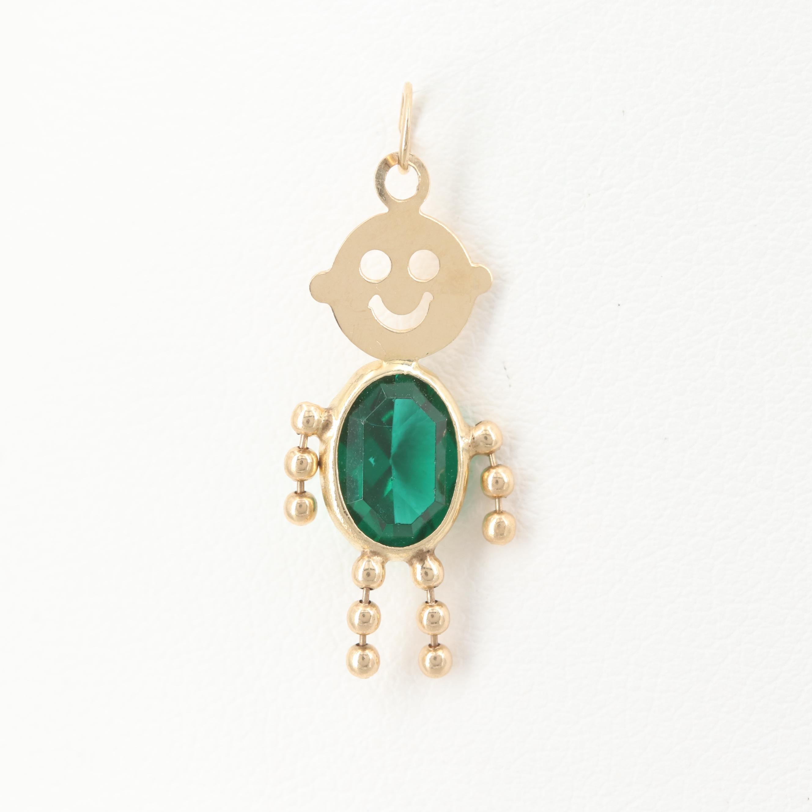 14K Yellow Gold Childrens Glass Birthstone Style Pendant
