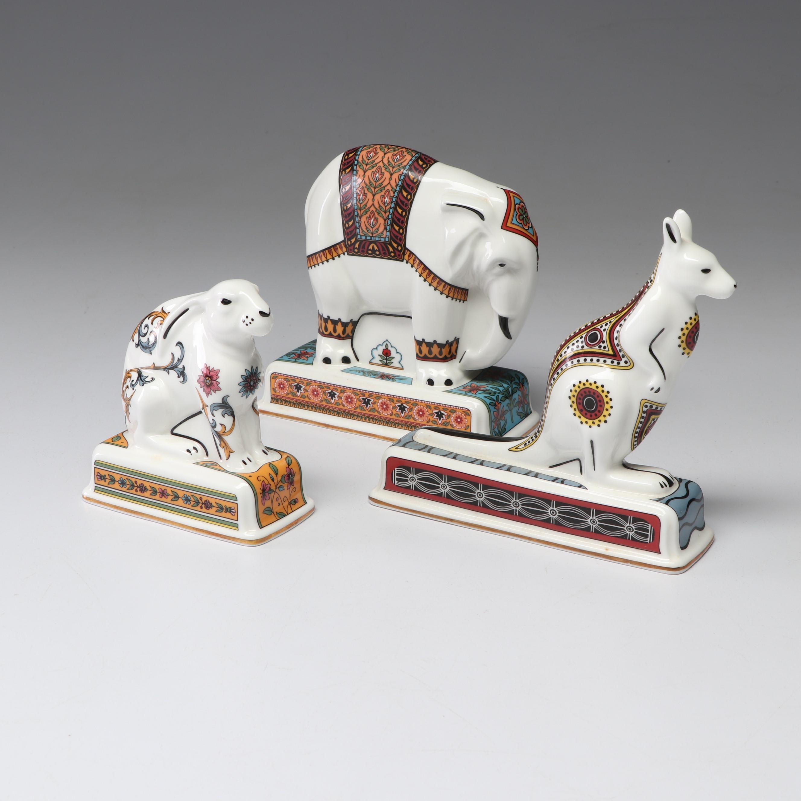 Wedgwood Noah's Ark Collection Hare, Elephant, and Kangaroo, 1993
