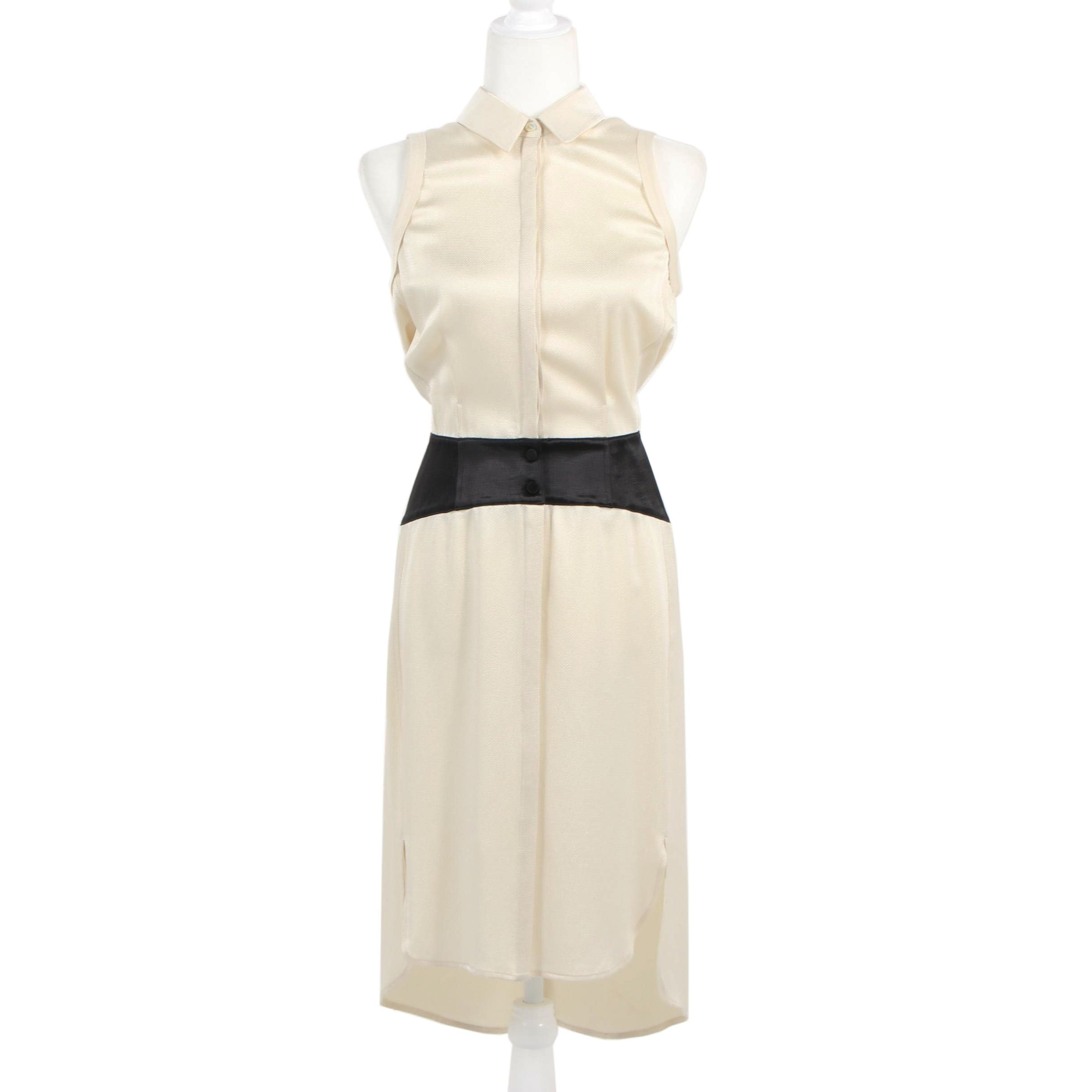 Alexander Wang Ivory and Black Hammered Silk Sleeveless Dress