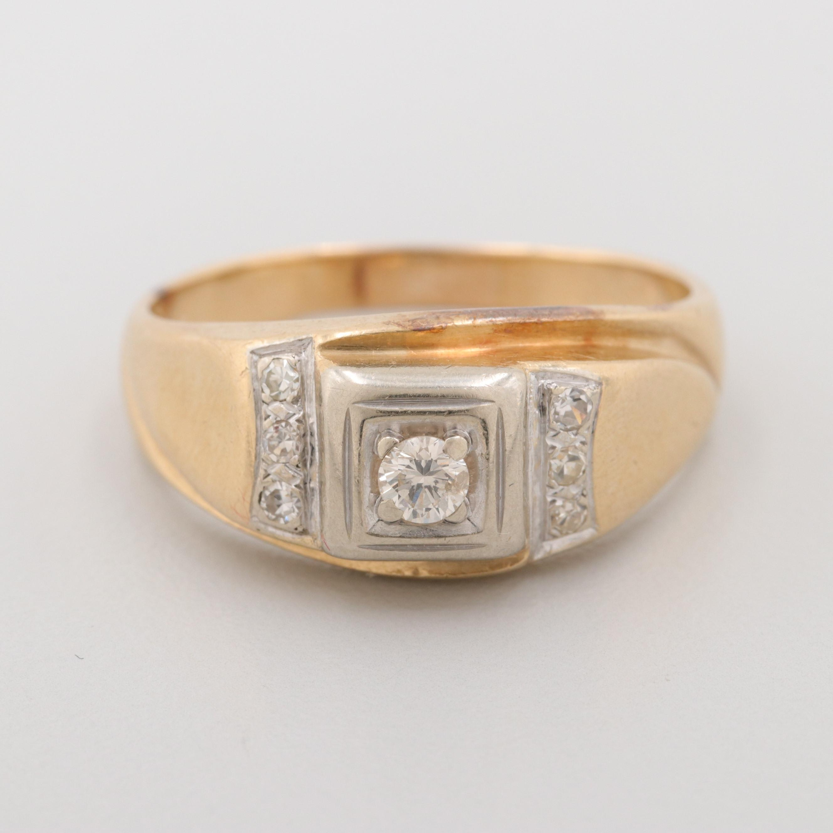 14K Yellow Gold Diamond Ring with White Gold Accent