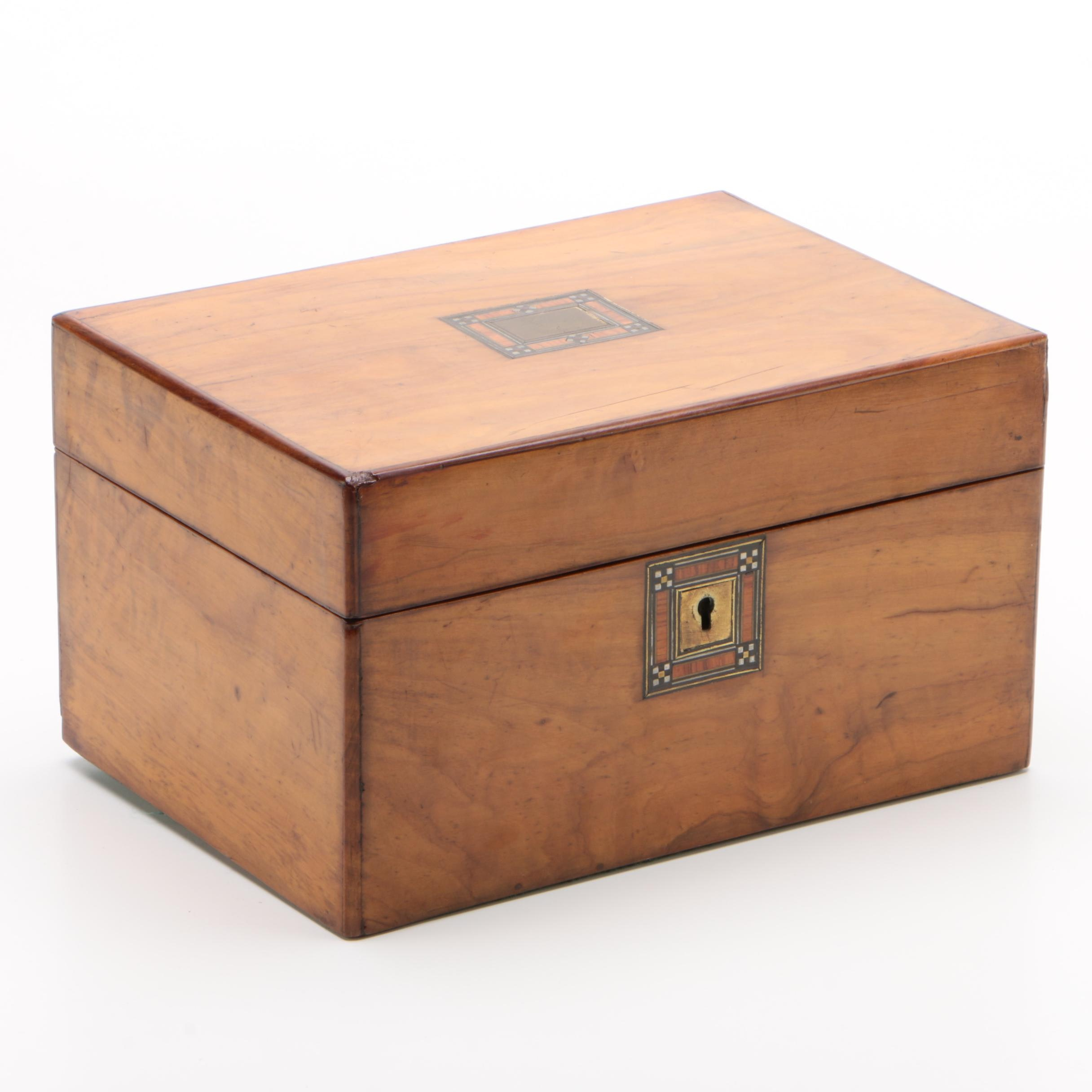 Maple and Marquetry Gentleman's Dressing Box, Mid-19th Century