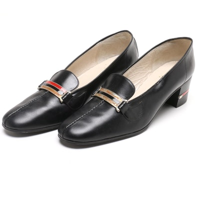 54c464927c28 Gucci Navy Blue Block Heel Loafer Heels with Web Stripe Accents