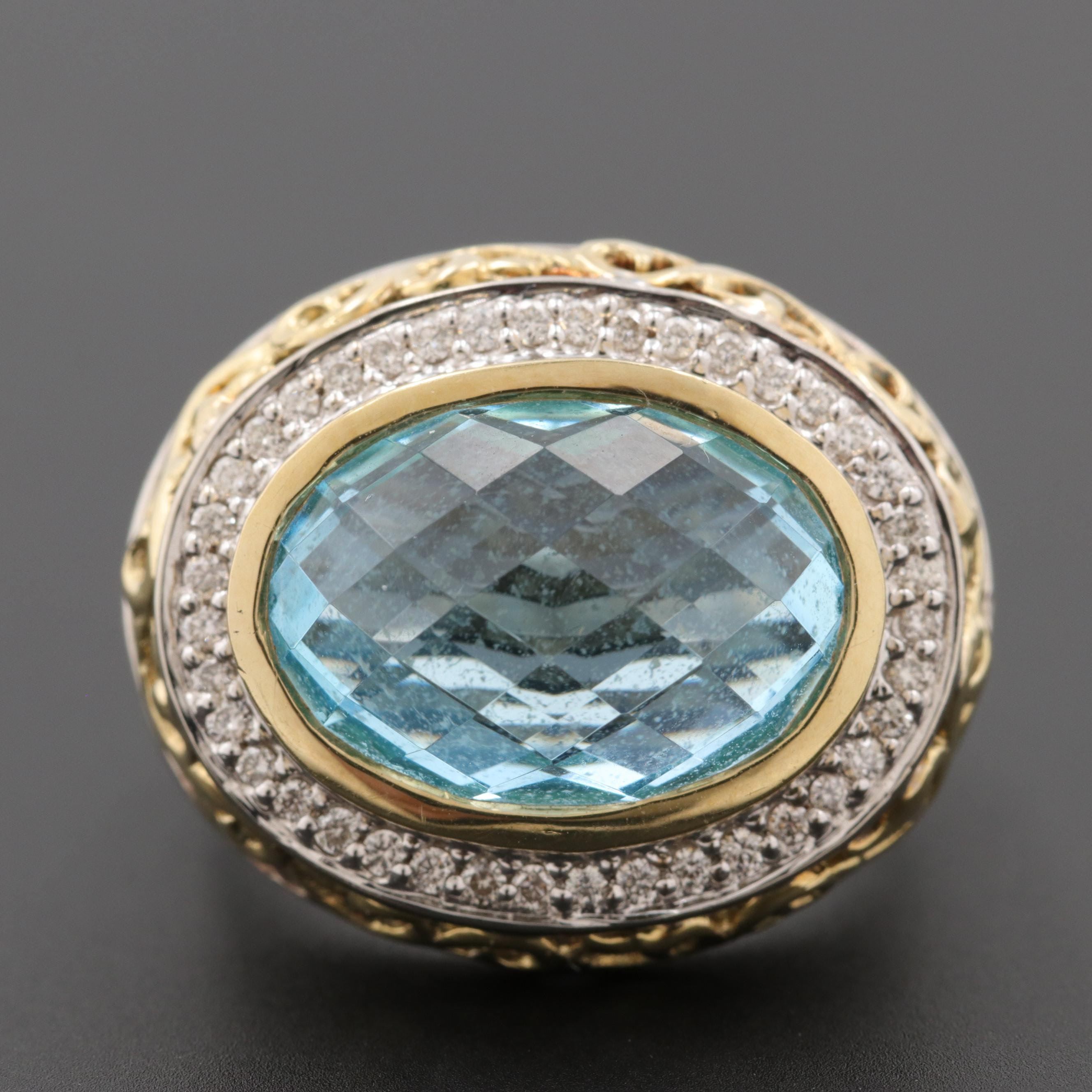 Sterling Silver Blue Topaz and Diamond Ring with 18K Yellow Gold Accents