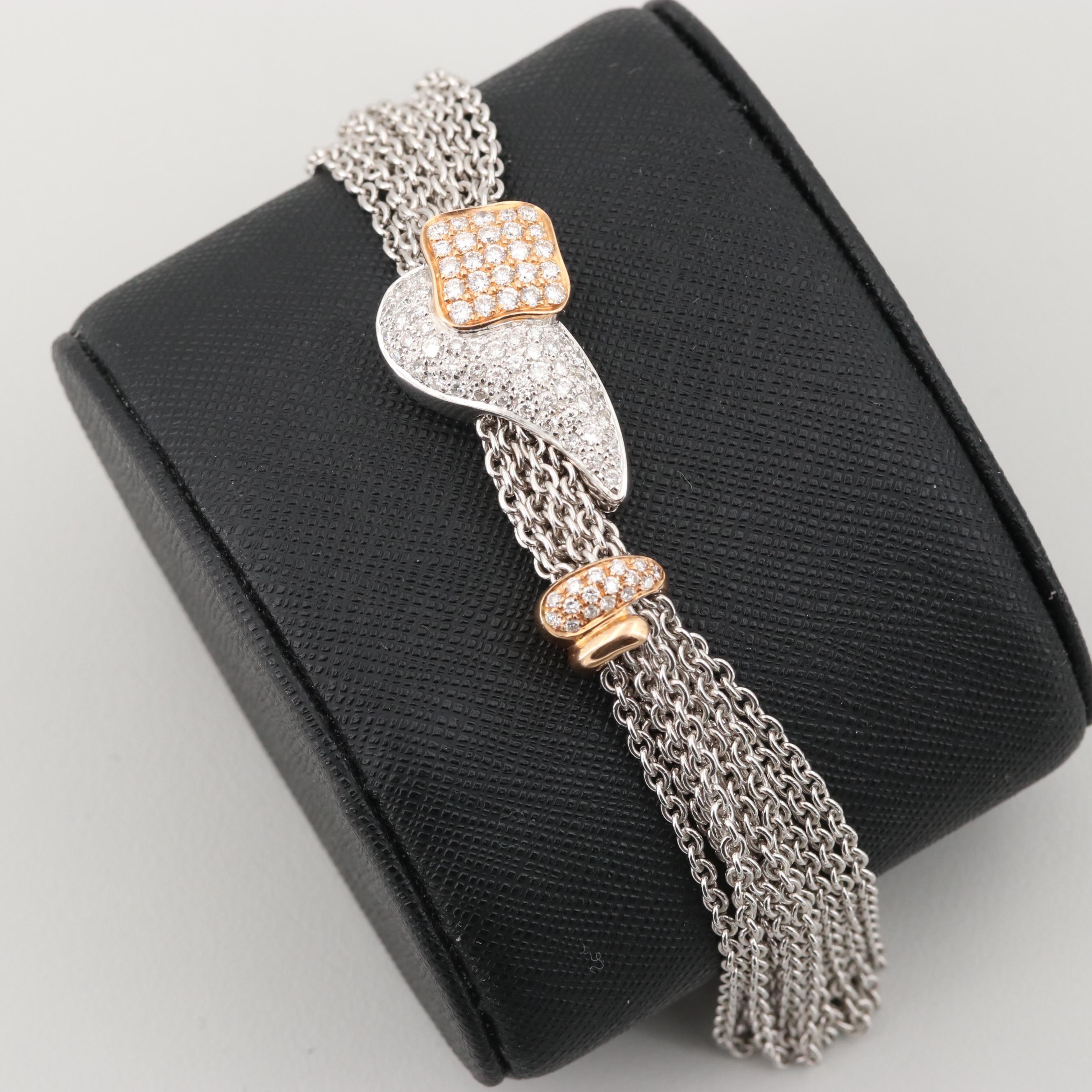 La Nouvelle Bague 18K White Gold 1.70 CTW Diamond Bracelet with Rose Gold Accent