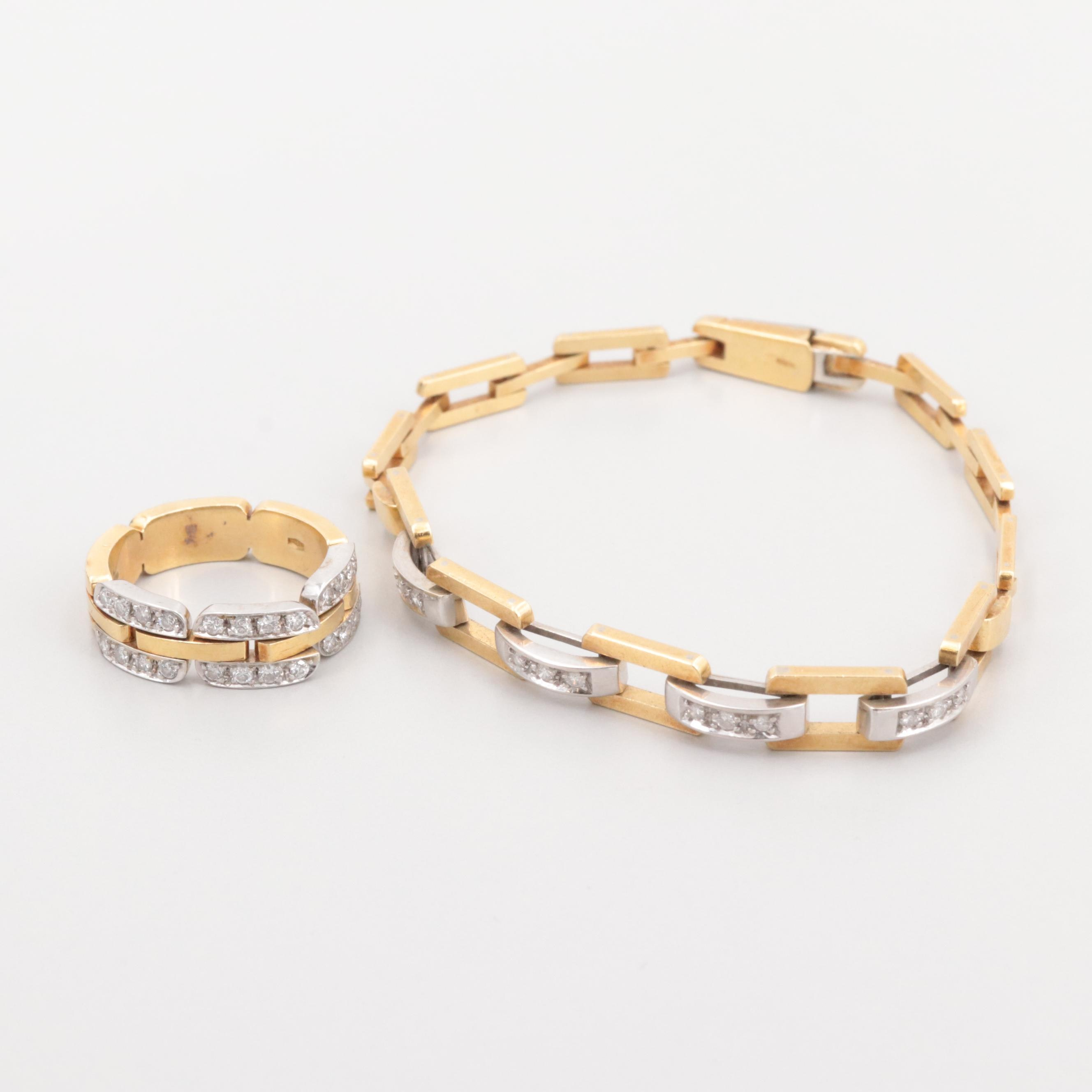 18K Yellow Gold, White Gold Diamond Bracelet and Ring