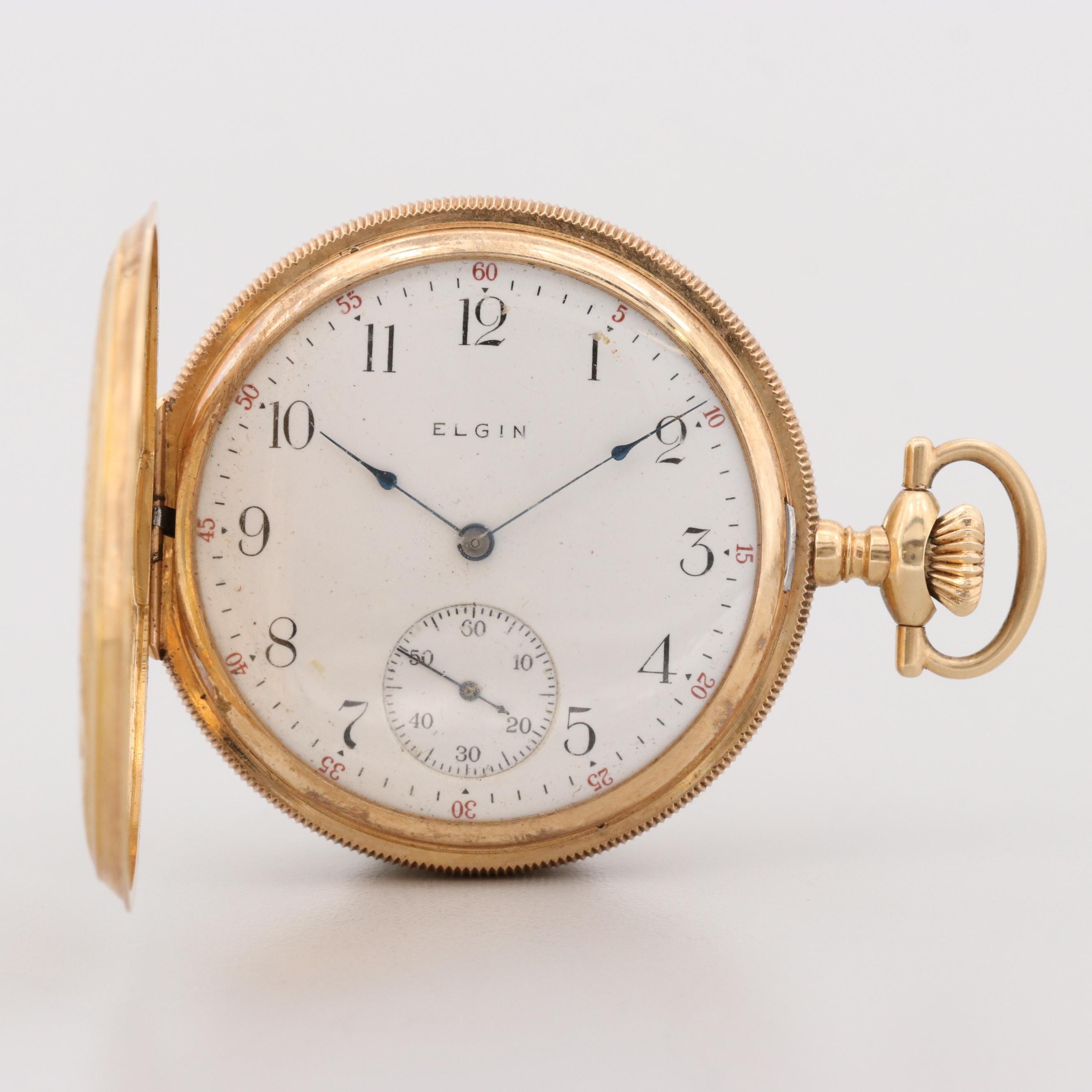 Antique Elgin 14K Yellow Gold Hunter Case Pocket Watch, 1911