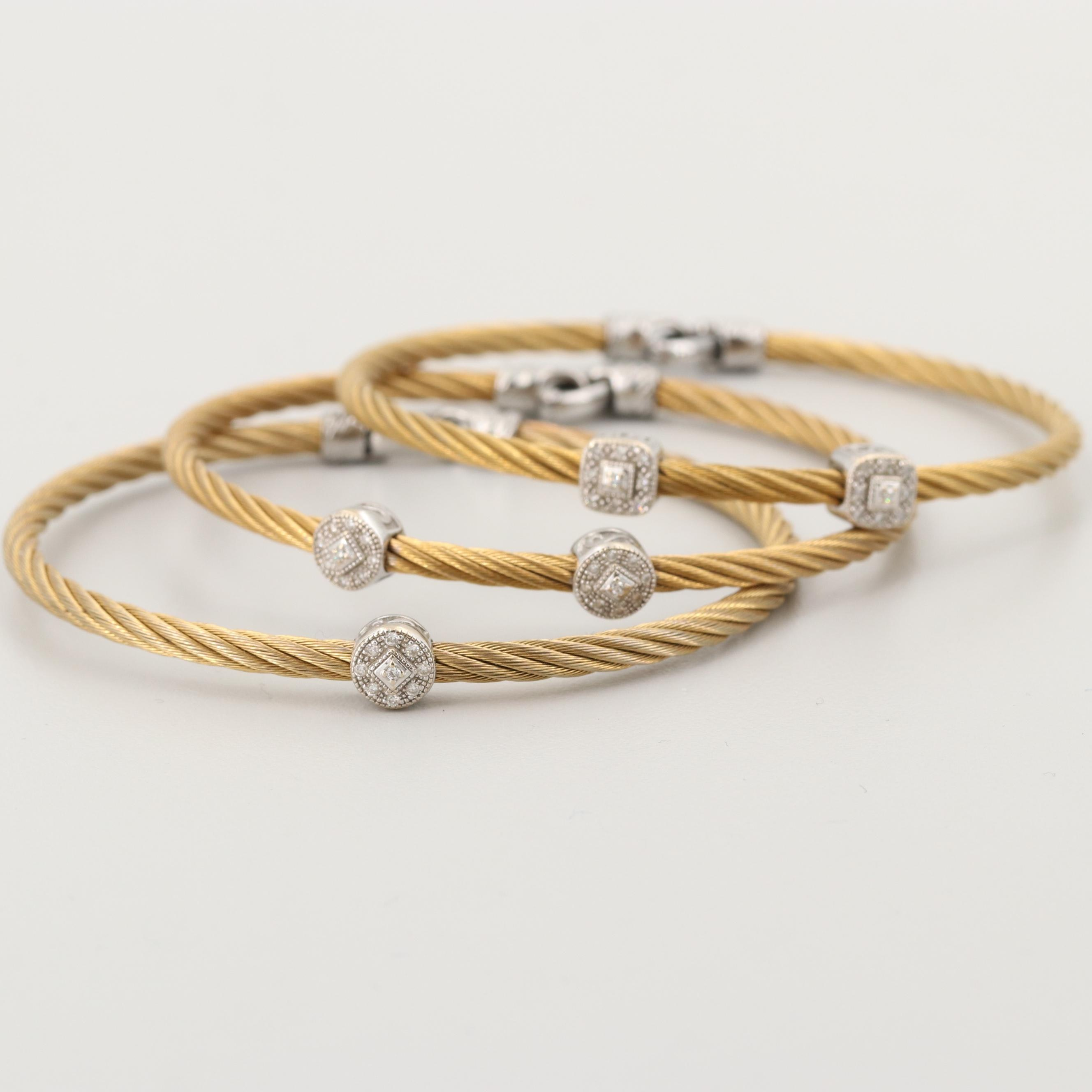 Charriol Stainless Steel Bracelets with 18K White Gold and Diamond Accents
