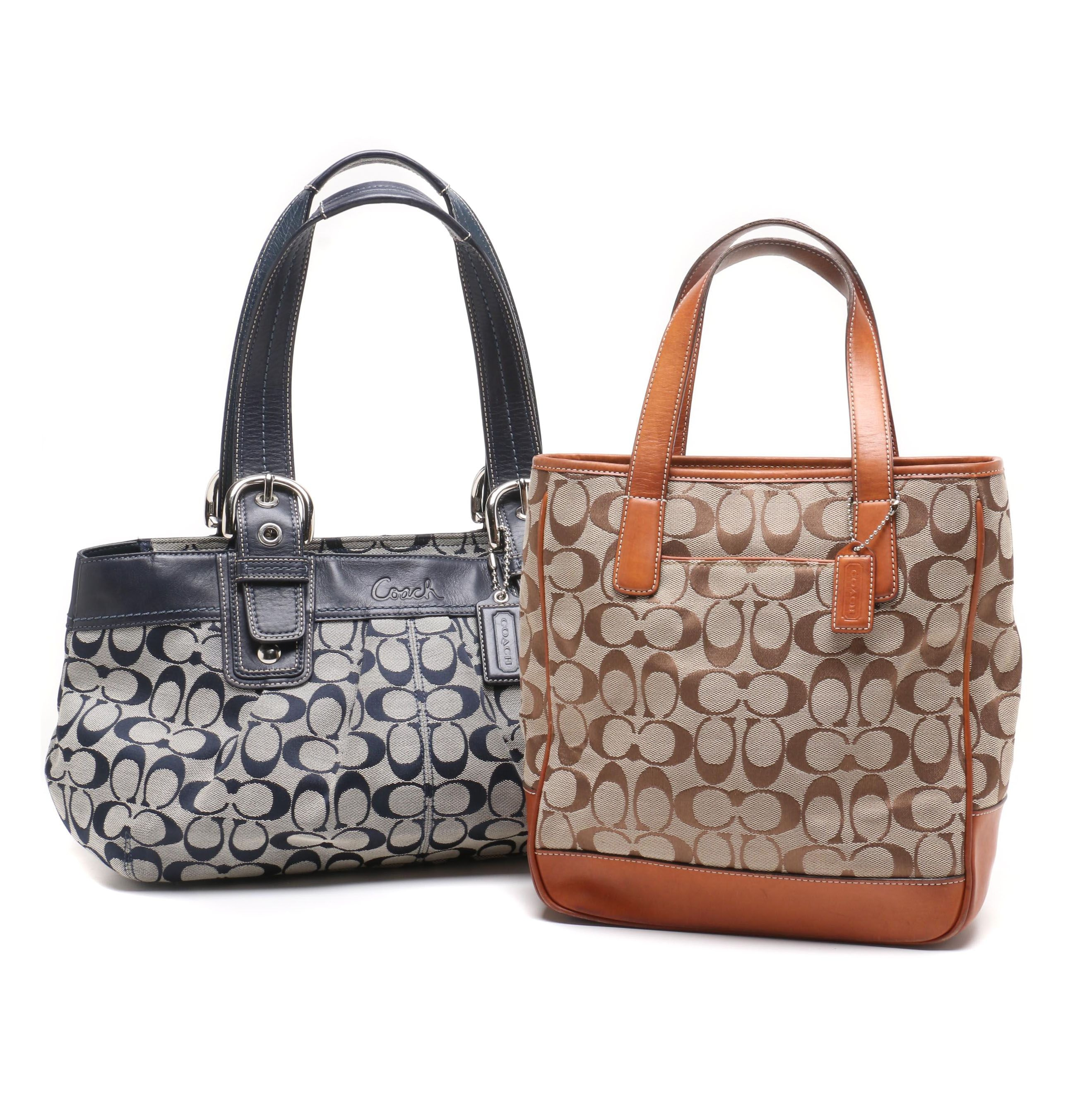 Coach Signature Jacquard and Leather Tote Bags
