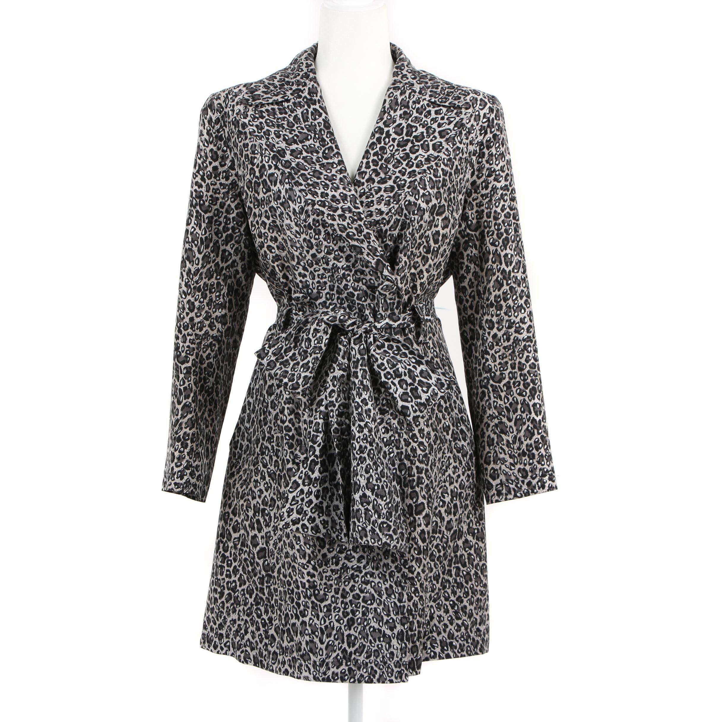 Adrienne Landau Leopard Print Silk Coat with Tie Sash