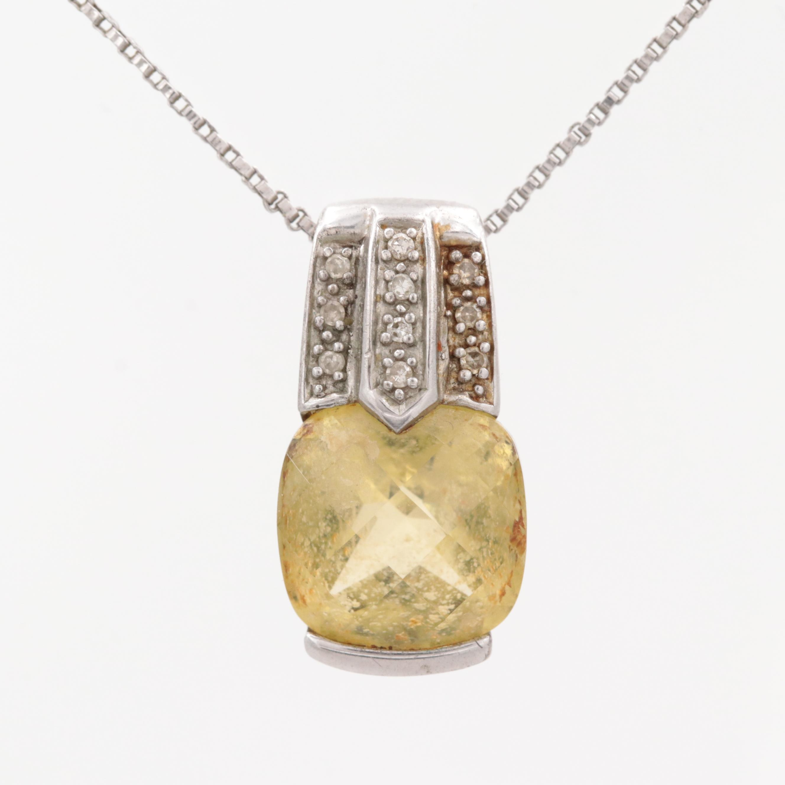 Sterling Silver Citrine and Diamond Necklace