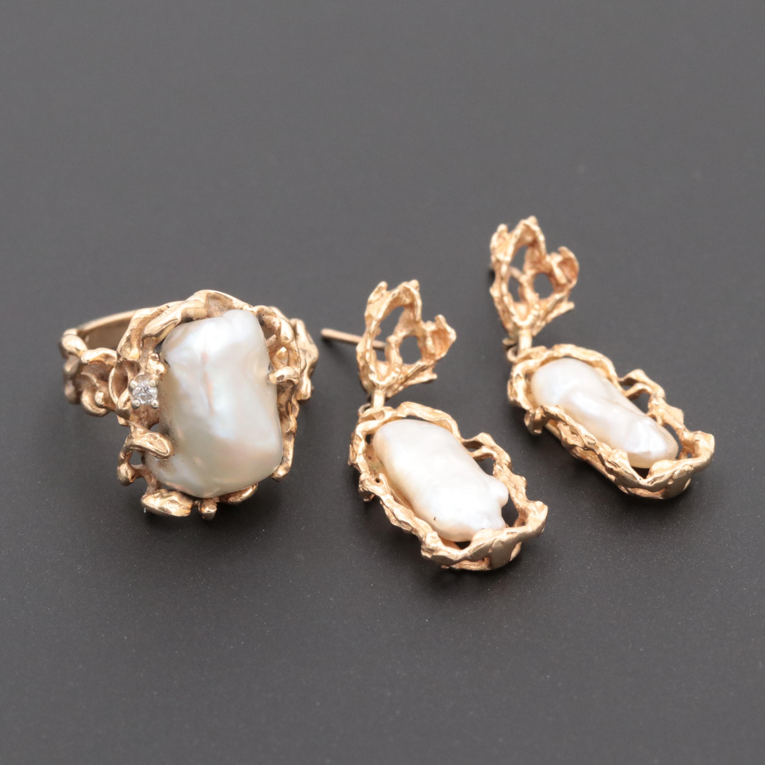 14K Yellow Gold Cultured Keshi Pearl Earrings and Ring with Diamond Accent