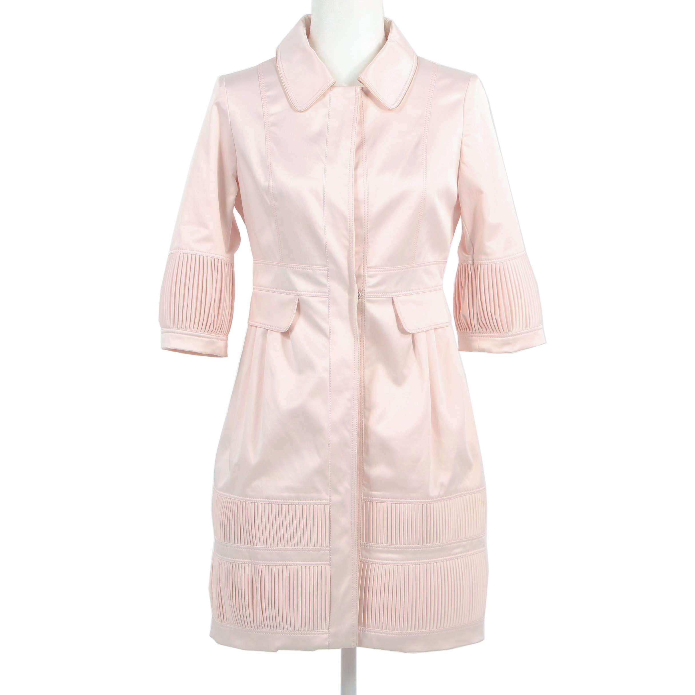 Alberta Ferretti Pink Cotton Half Sleeve Dress Coat
