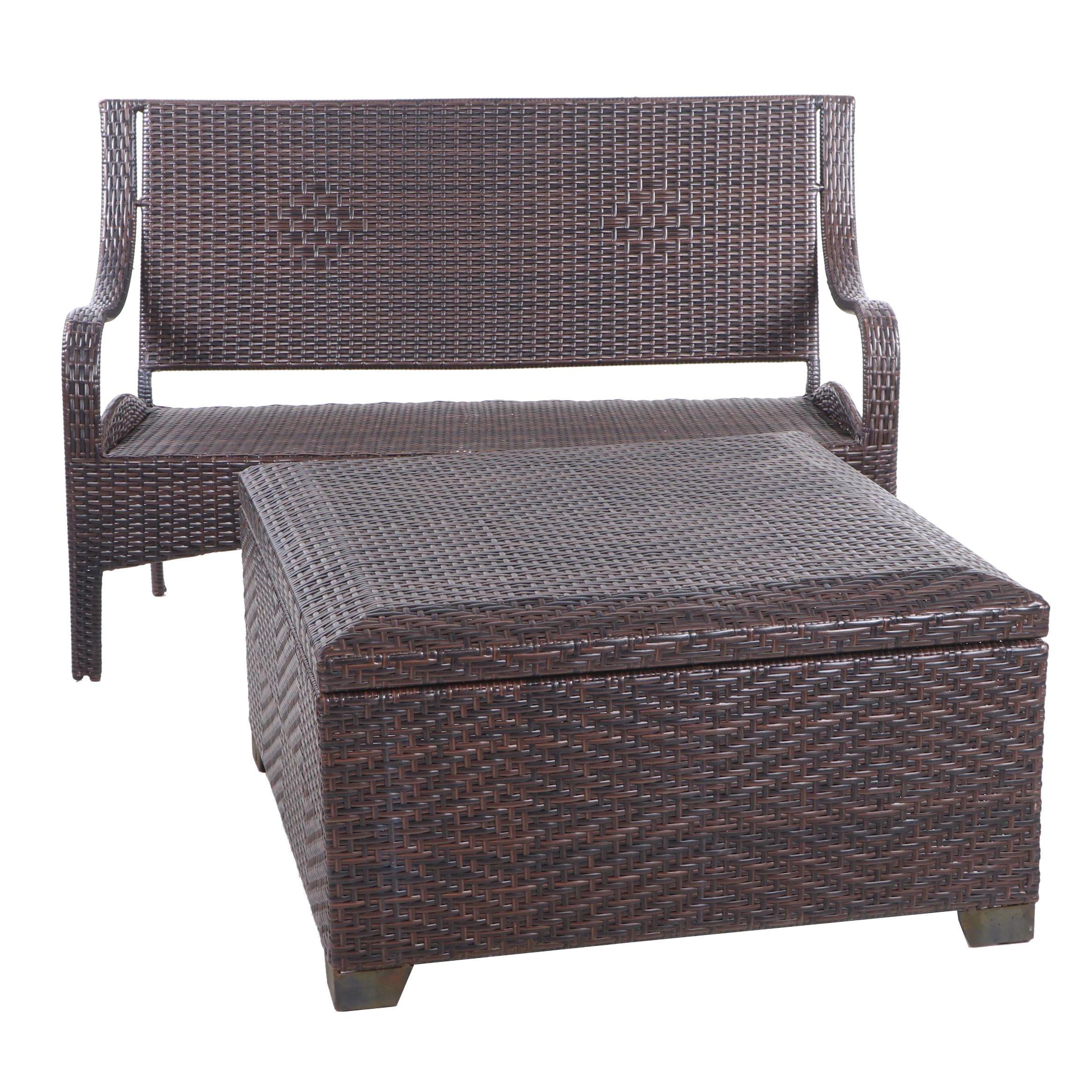 Contemporary Wicker Patio Bench and Storage Ottoman