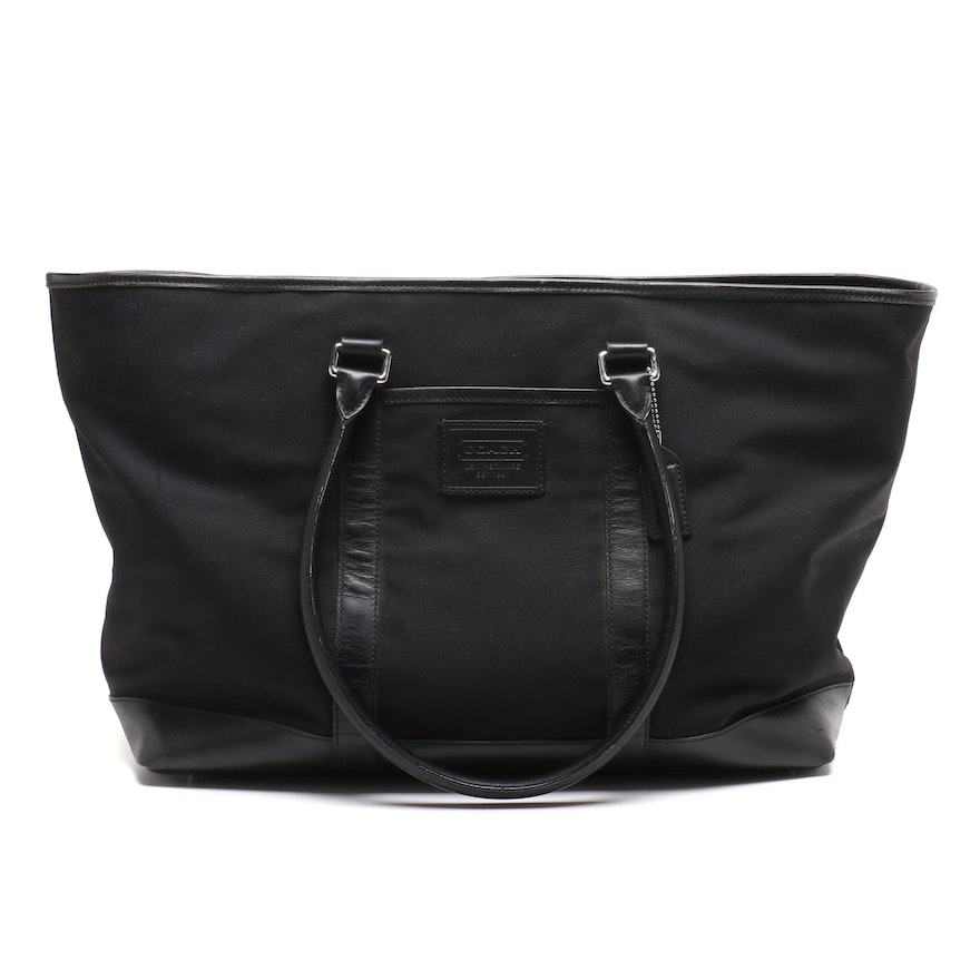 Coach Black Canvas and Leather Weekender Bag