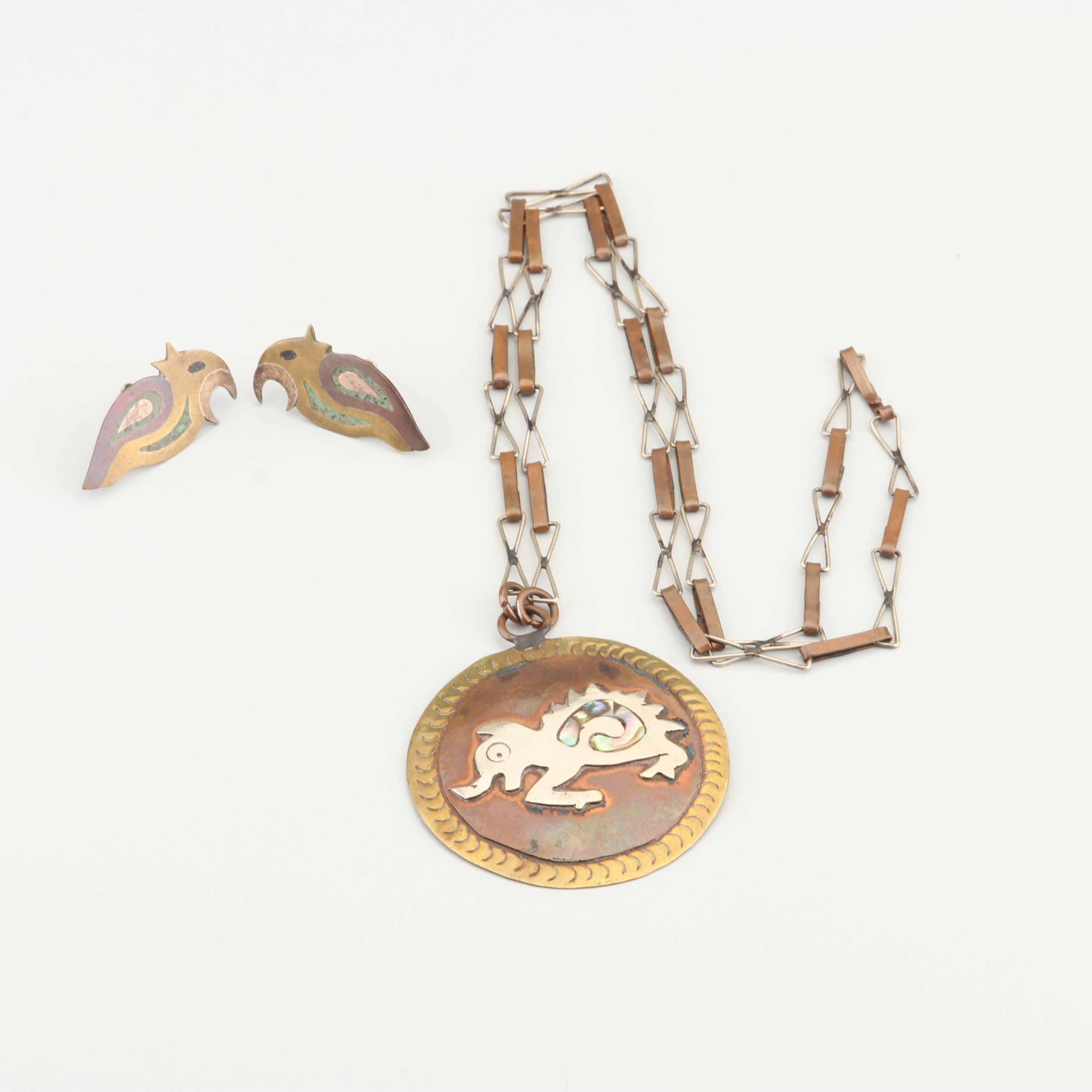 Brass, Copper, and Sterling Silver Jewelry Set