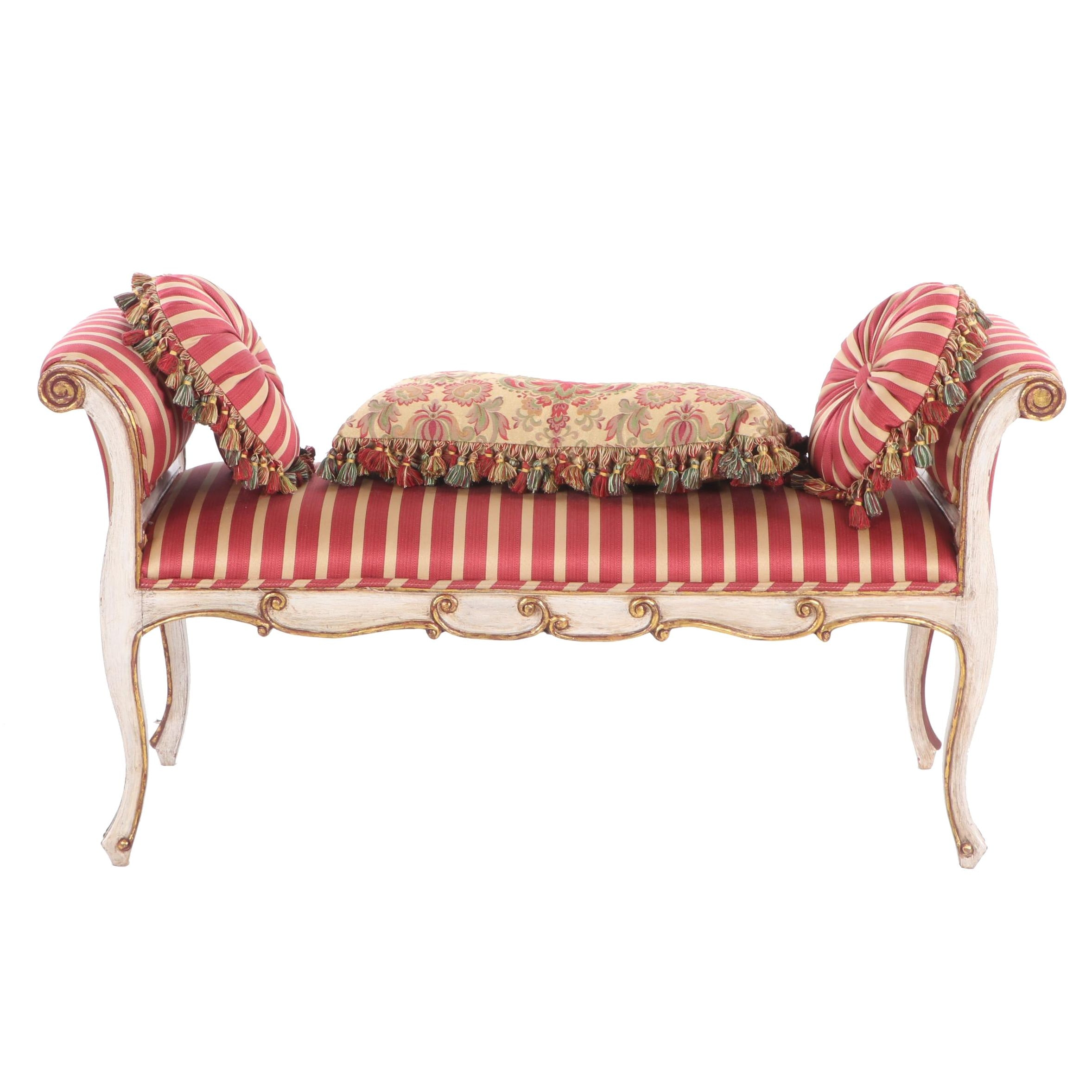 French Provincial Style Painted Wood Upholstered Bed Bench, Mid 20th Century
