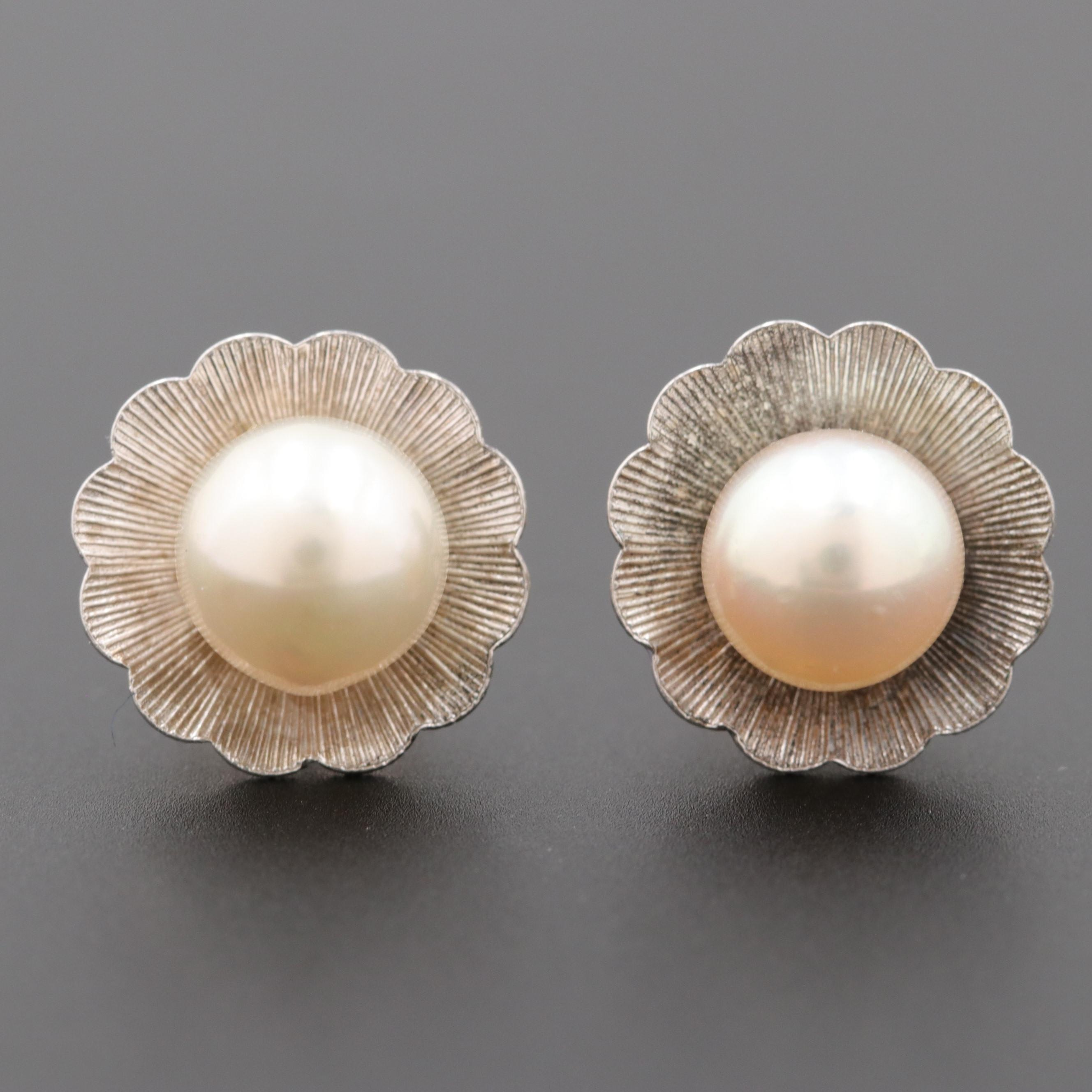 14K White Gold and Silver Tone Cultured Pearl Stud Earrings