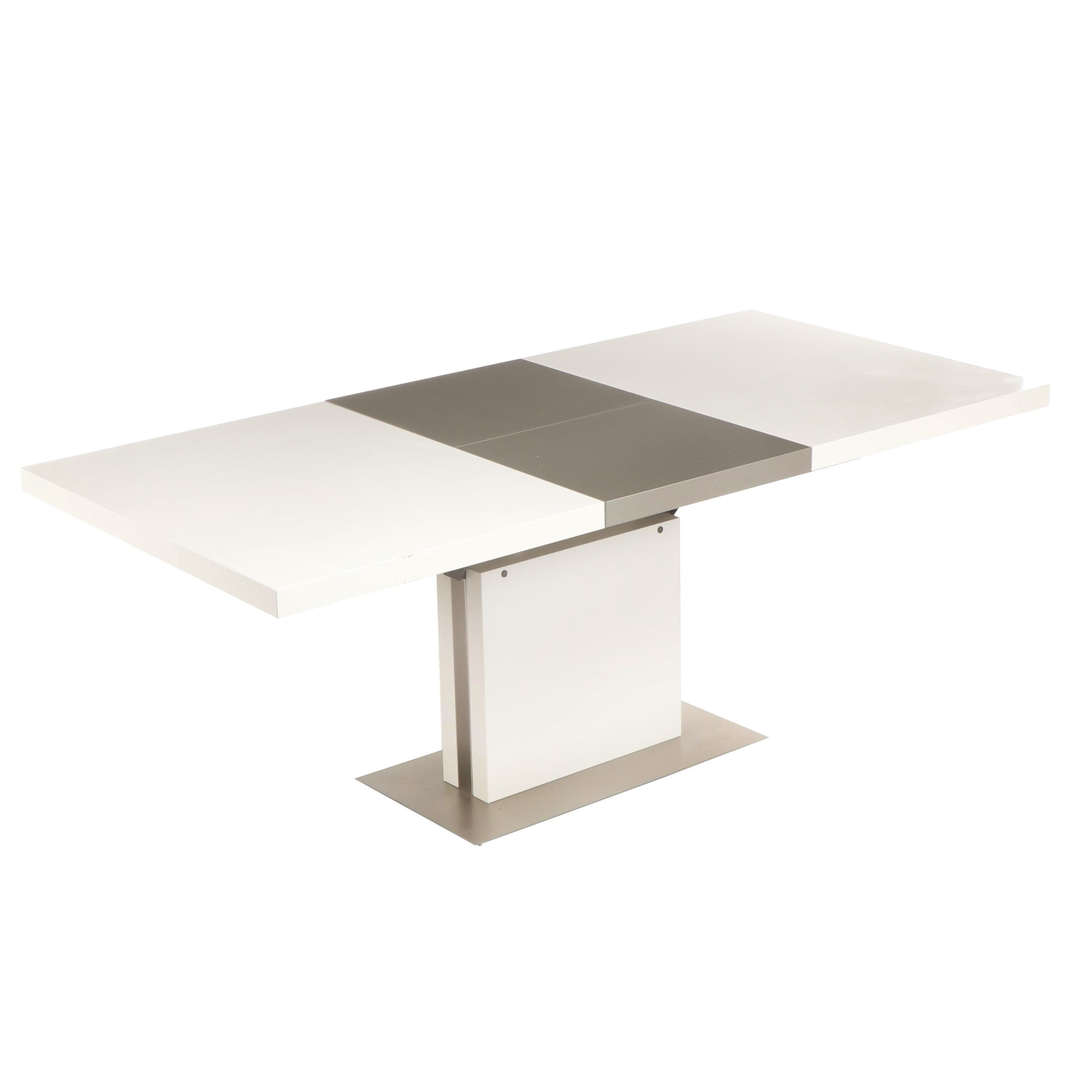 Contemporary Modern White and Gray Expanding Table