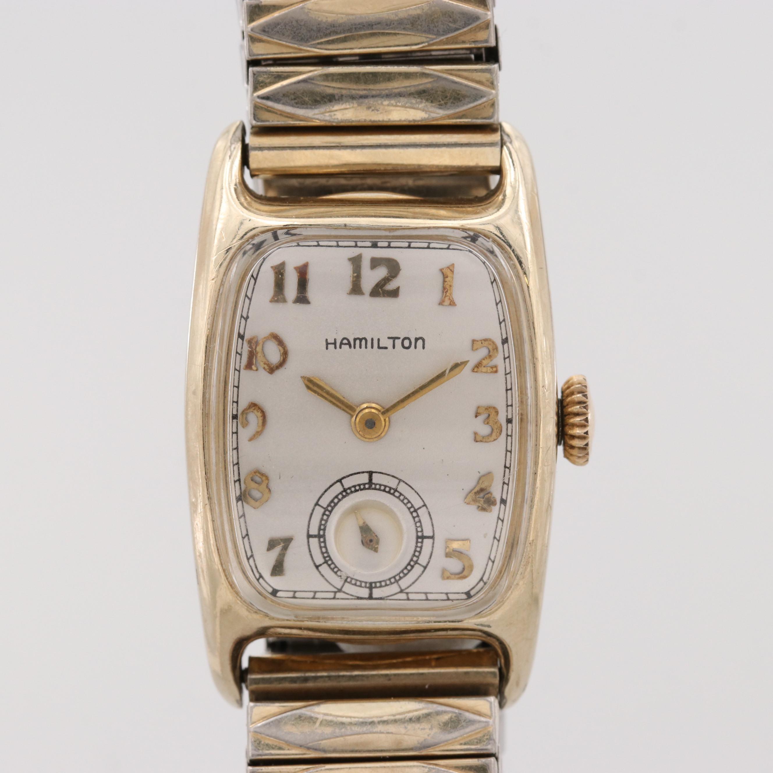 Vintage Hamilton Boulton 14K Gold Filled Stem Wind Wristwatch, Circa 1940
