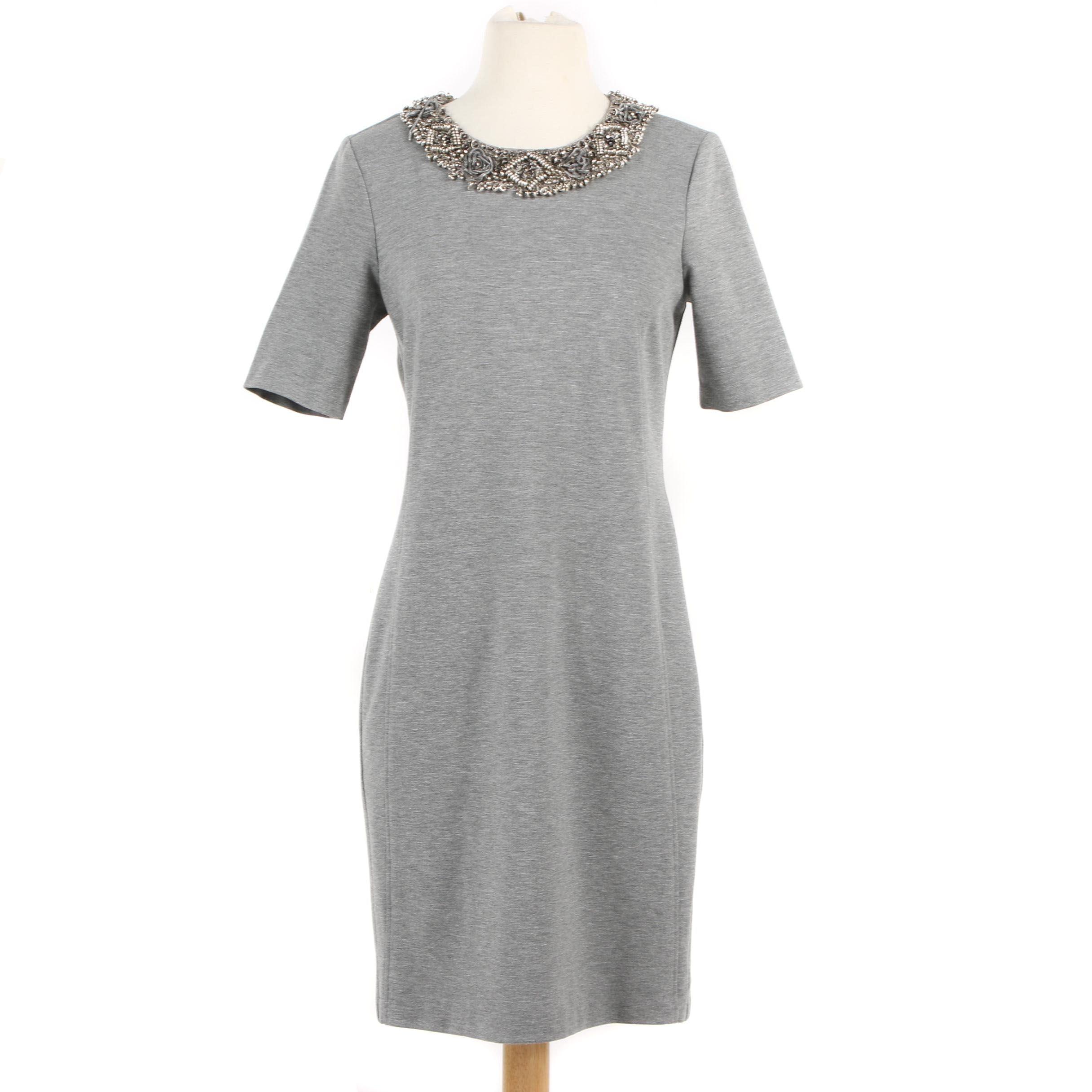 ADAM Adam Lippes Grey Shift Dress with Embellished Neckline