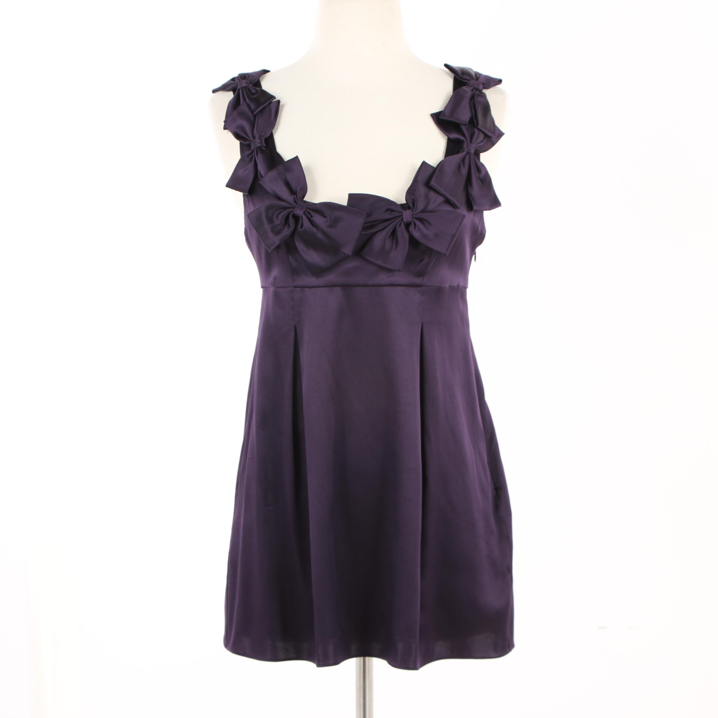 Rebecca Taylor Silk Sleeveless Top with Bow Accents in Eggplant