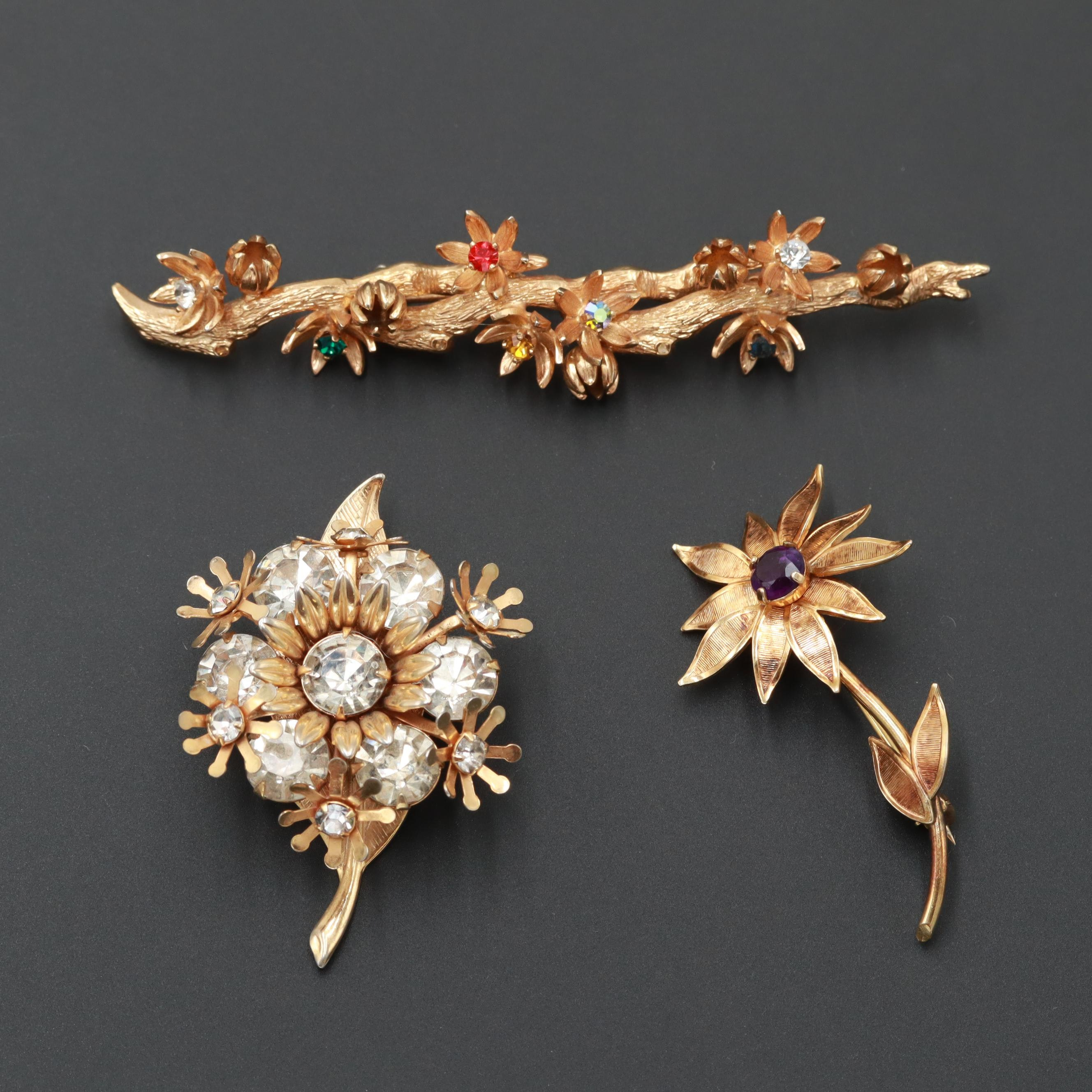 Vintage Winard & Grosse Gold Tone and Gold Filled Amethyst and Glass Brooches