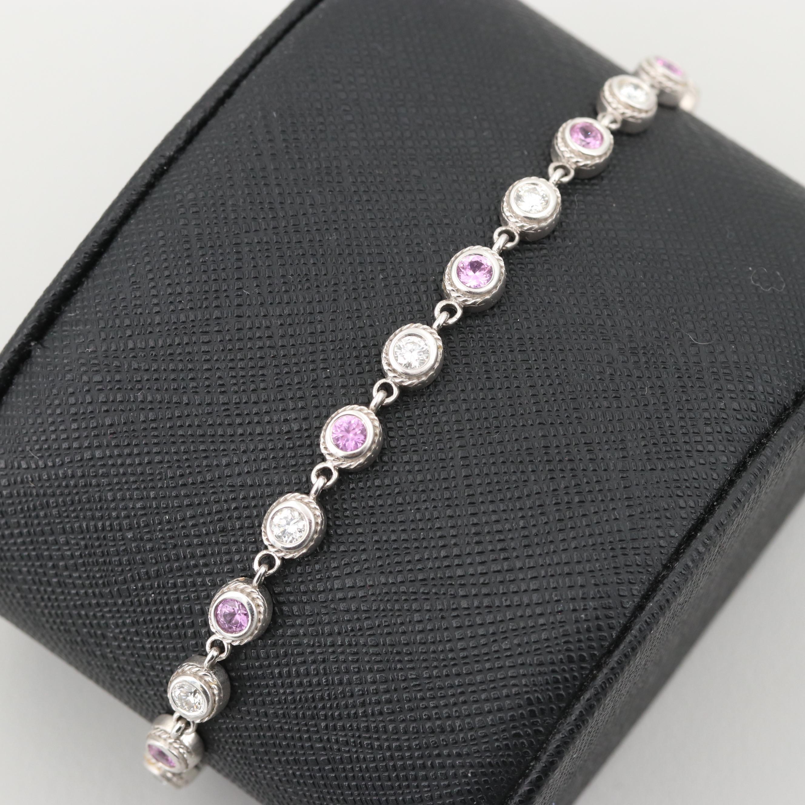 18K White Gold 1.44 CTW Diamond and Pink Sapphire Line Bracelet