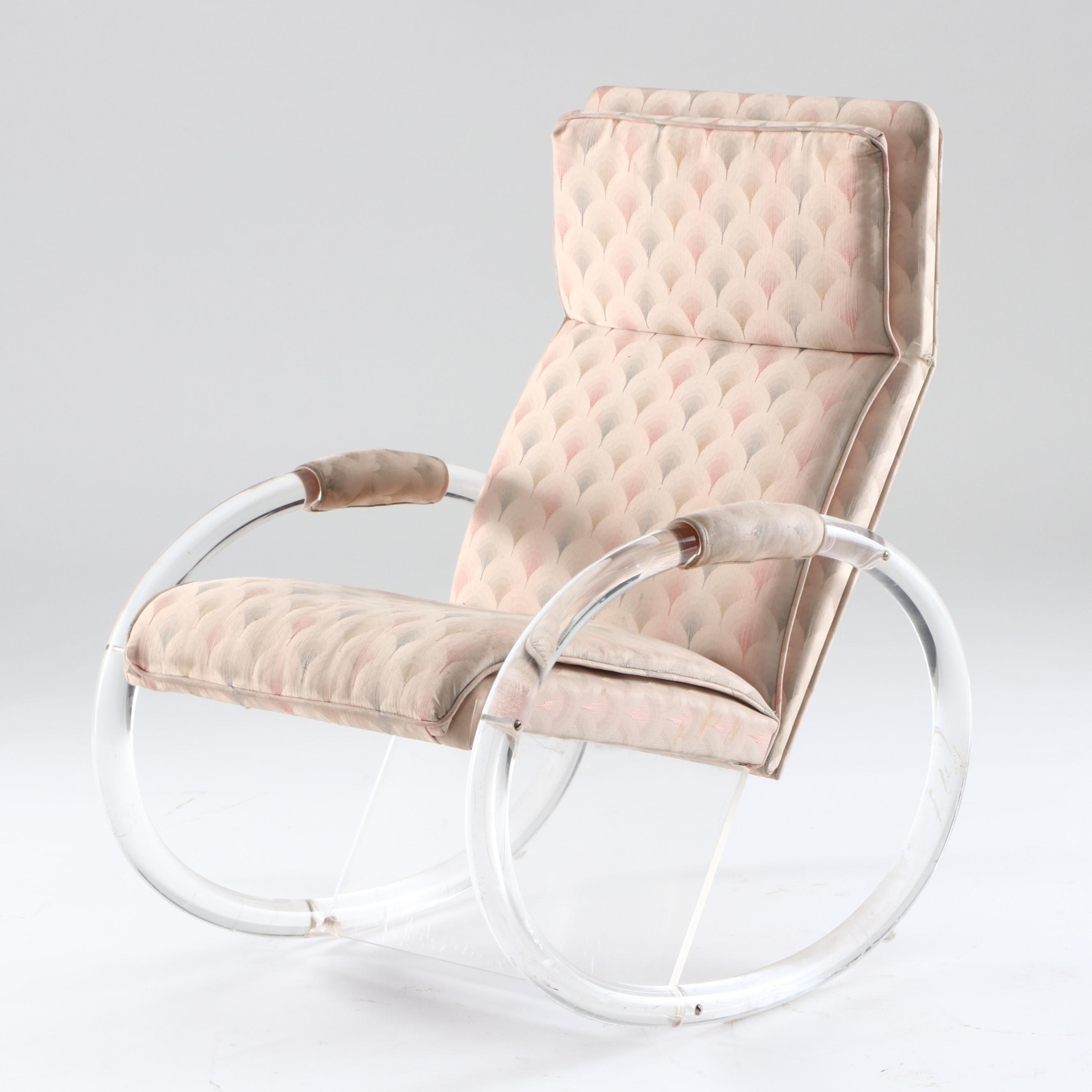 Mid Century Modern Lucite Frame Rocking Chair after Charles Hollis-Jones Design