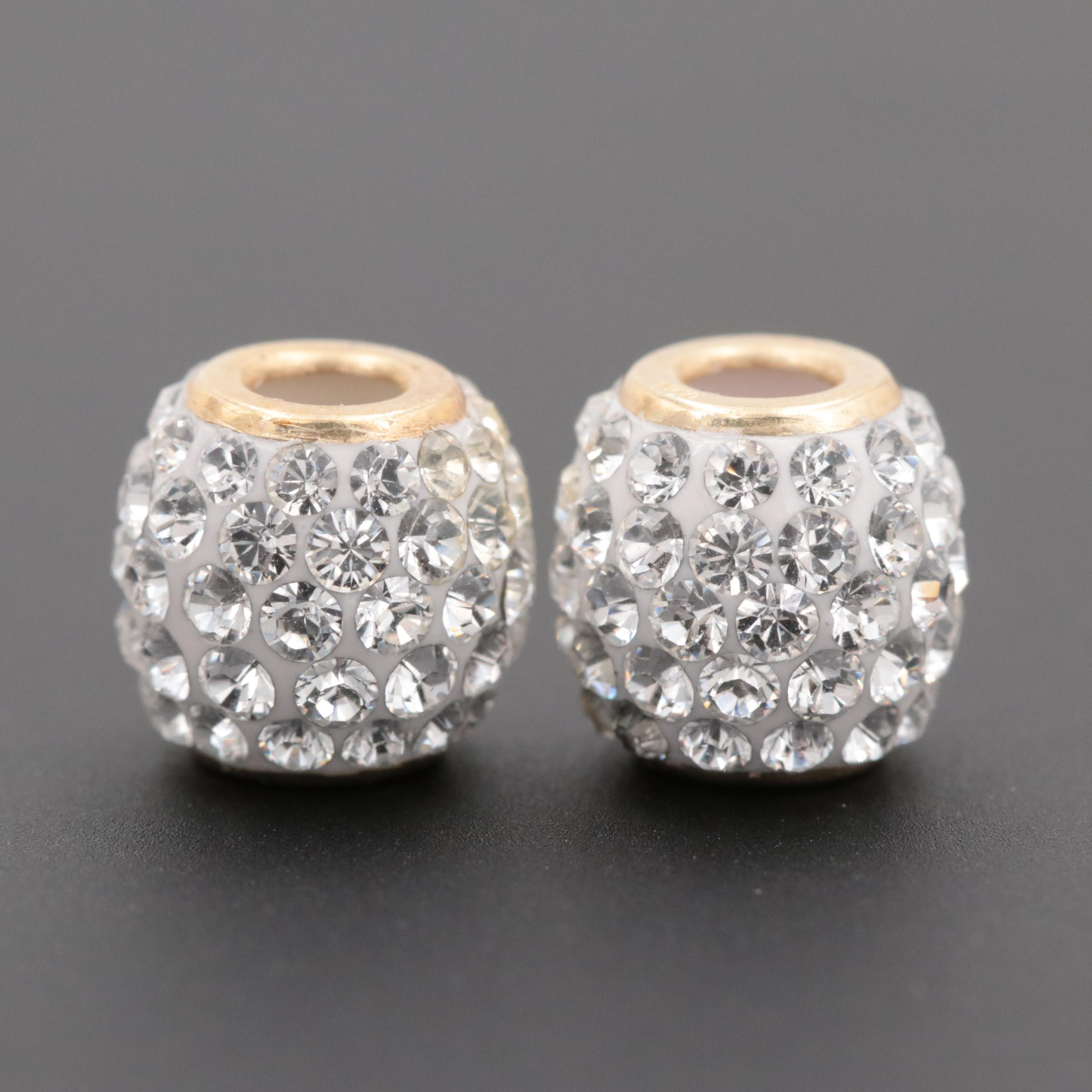 14K Yellow Gold Slide Bead Charms with Glass Accents
