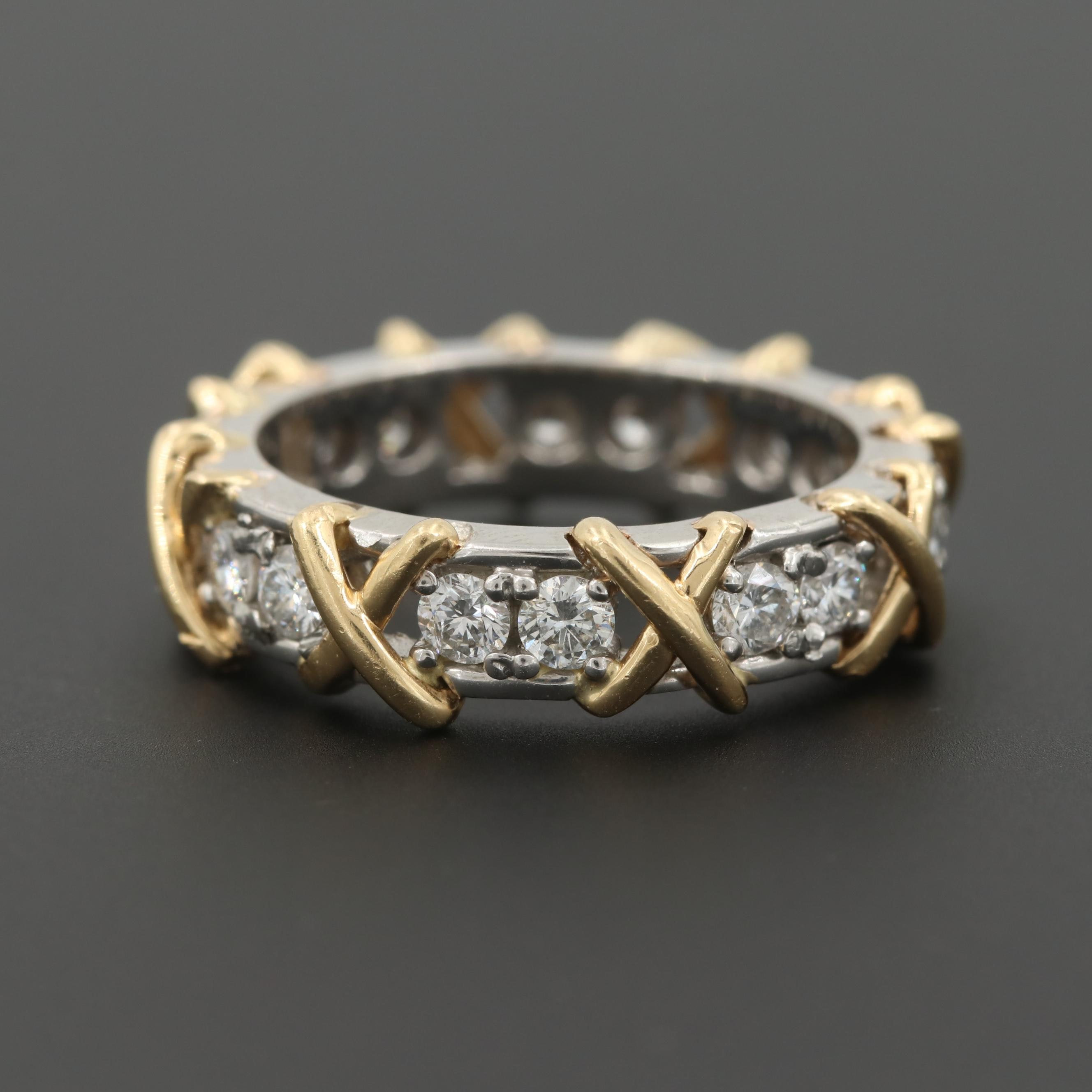 Platinum and 14K Yellow Gold 1.24 CTW Diamond Ring