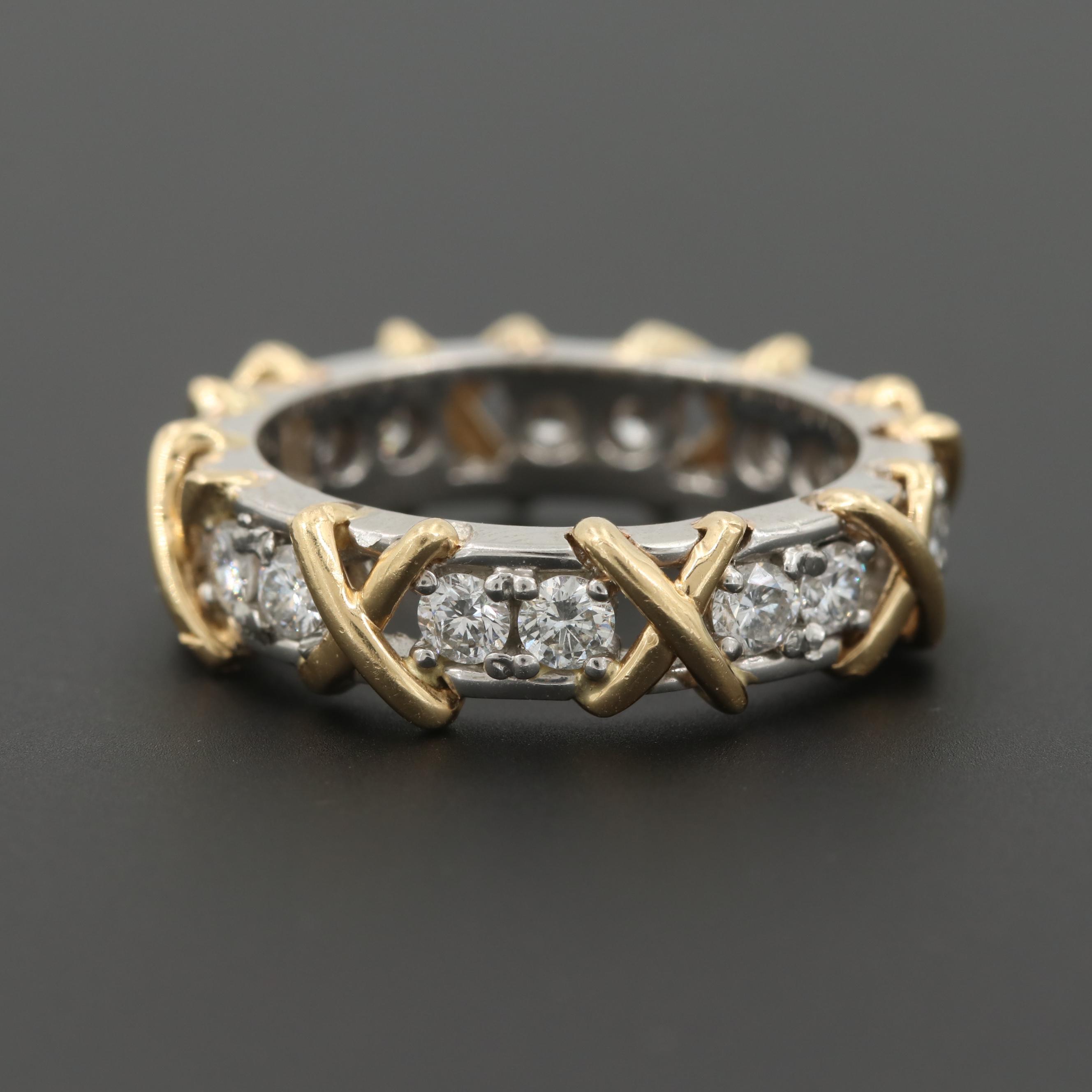 Platinum and 14K Yellow Gold 1.24 CTW Diamond Ring
