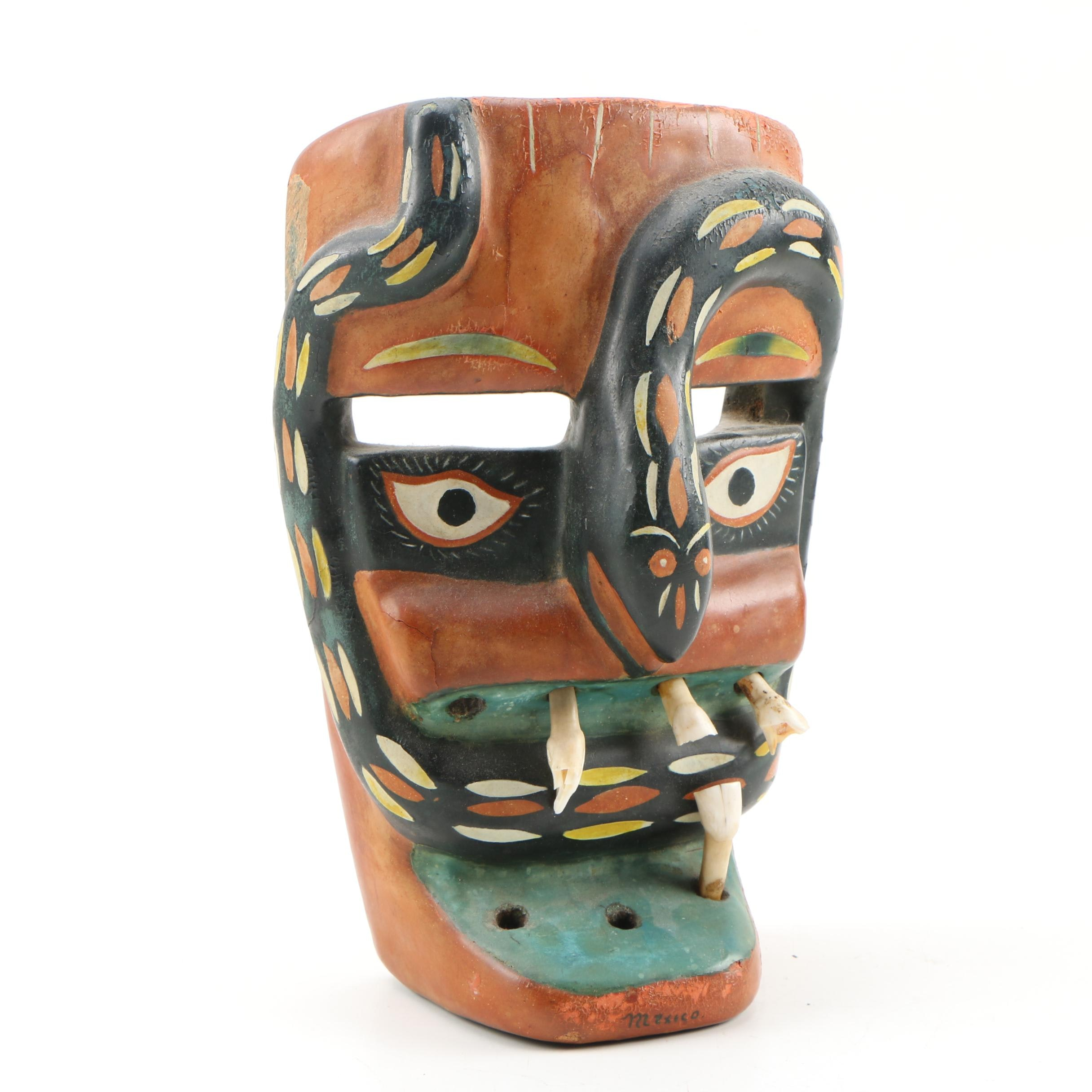 Michoacan Mexican Snake Face Mask with Animal Teeth
