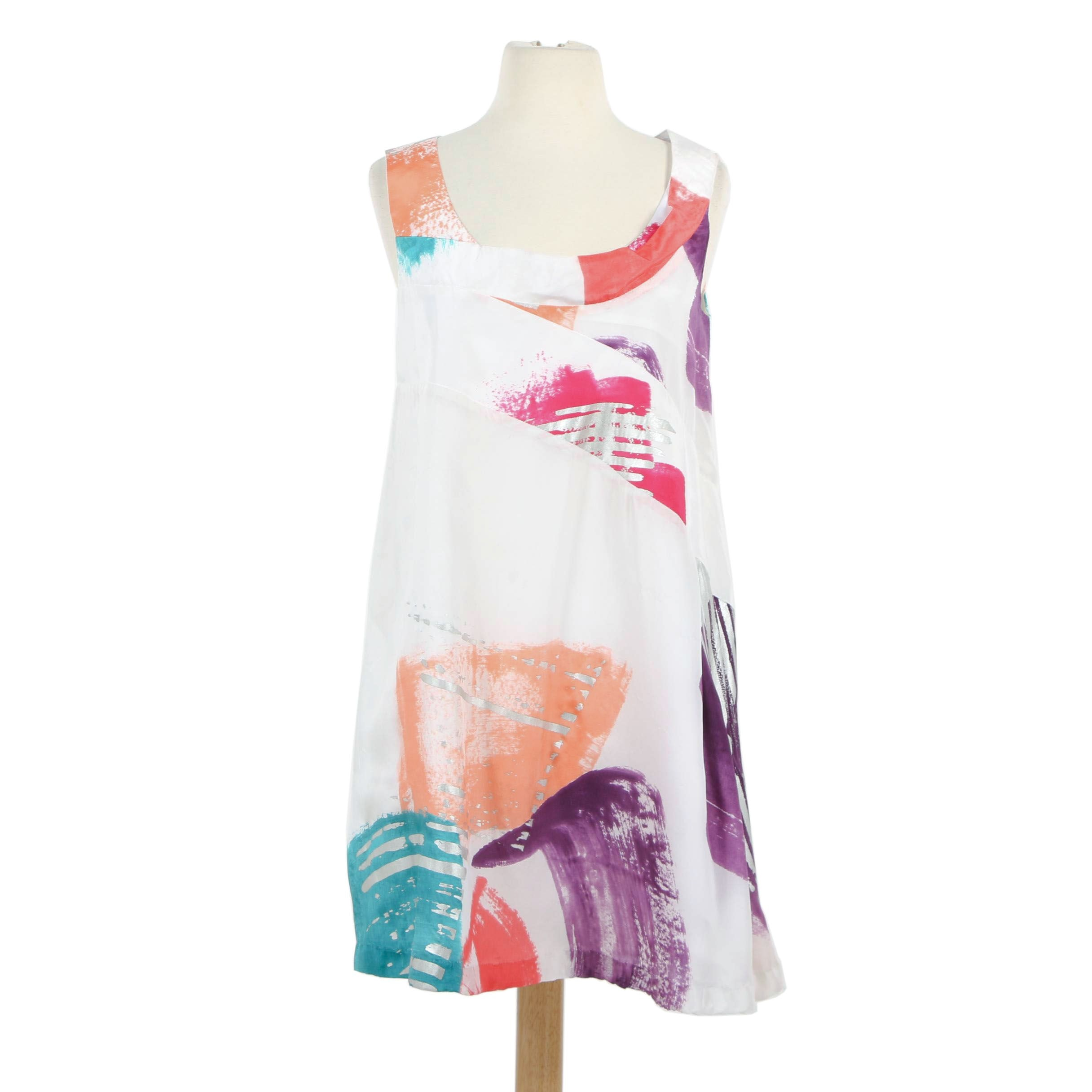 Chloé Multicolored Abstract Print Silk Sleeveless Shift Dress