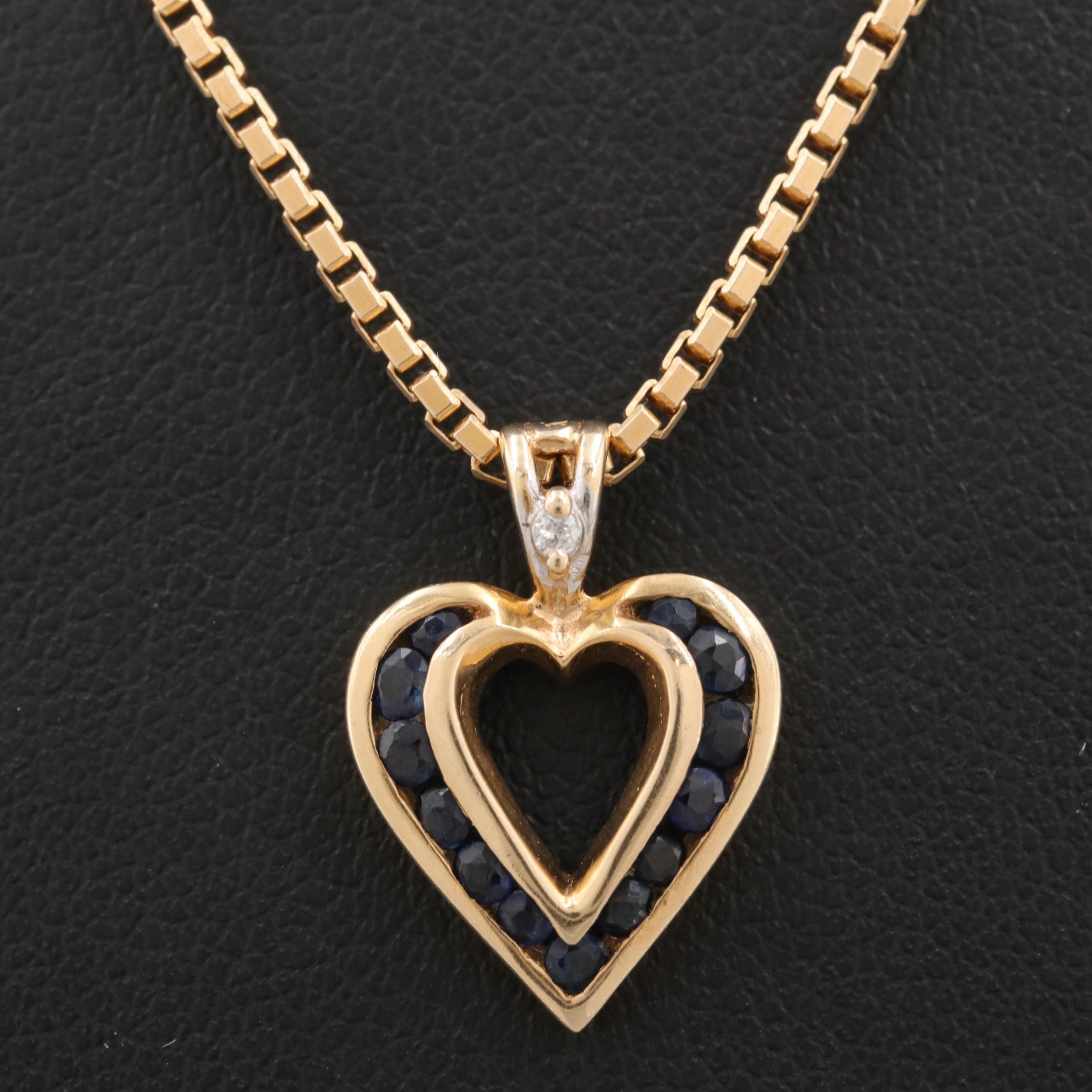 14K Yellow Gold Sapphire and Diamond Heart Pendant Necklace