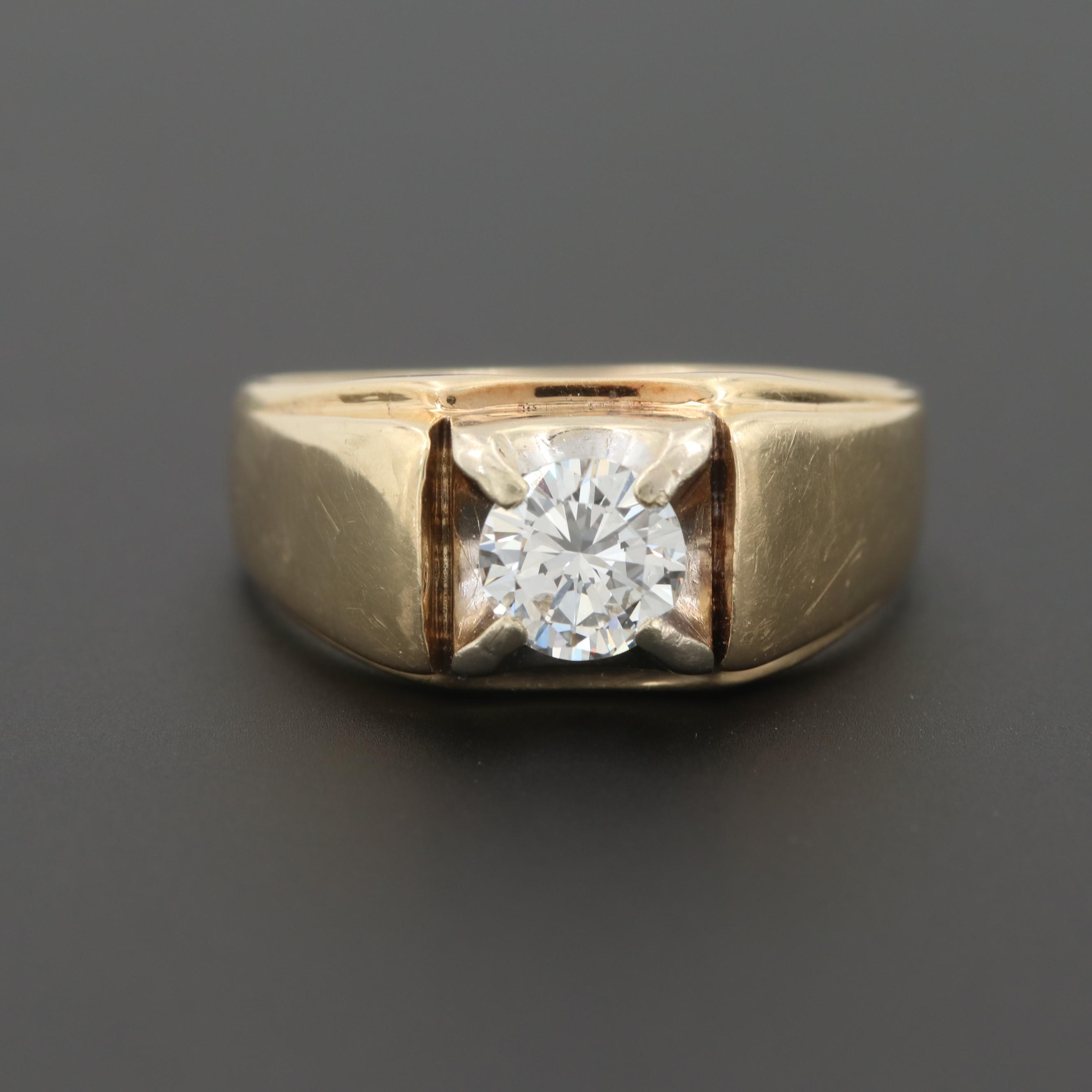 Vintage 14K Yellow Gold 1.00 CT Diamond Ring