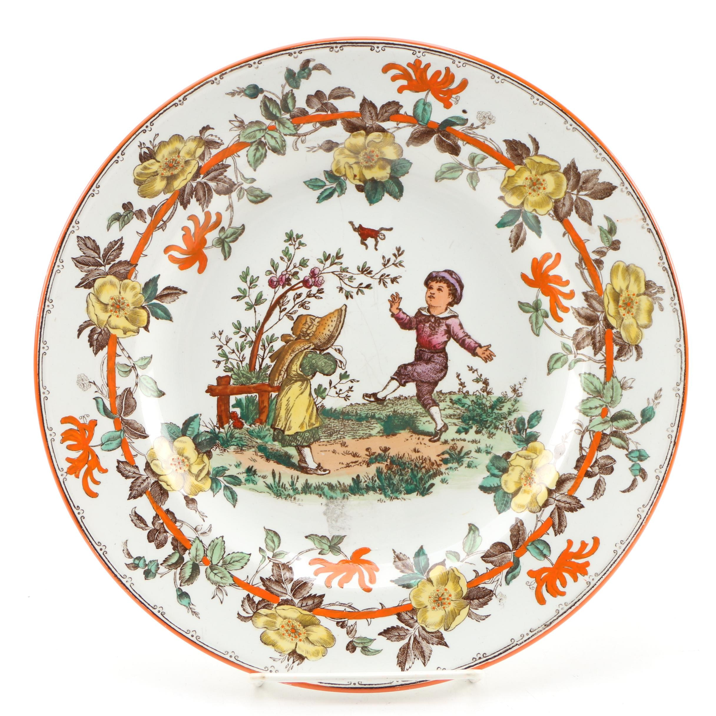 Wedgwood Ceramic Dinner Plate of Playing Children, Early 20th Century