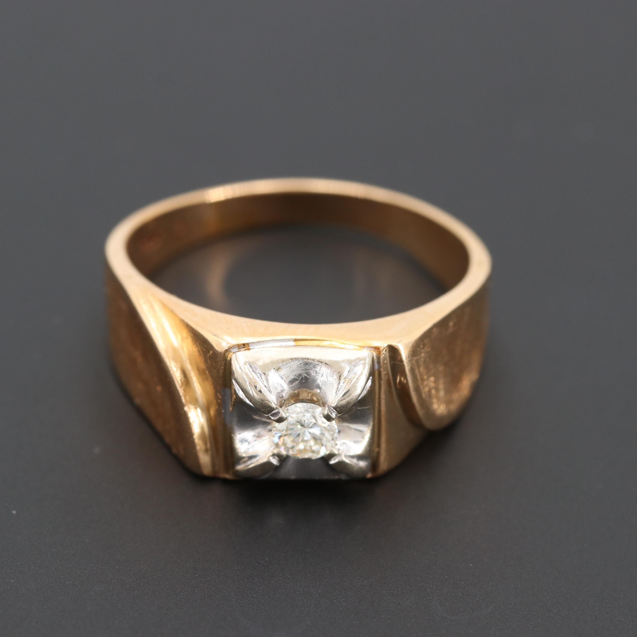 14K Yellow Gold Diamond Ring with White Gold and Florentine Finish Accents