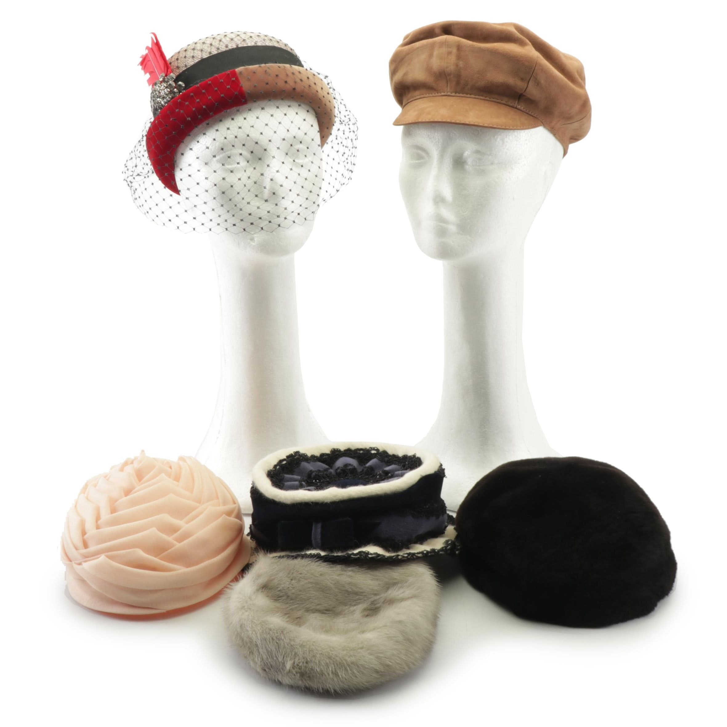 Women's Fashion Hats Including Dolly Madison and Mink Fur, Vintage