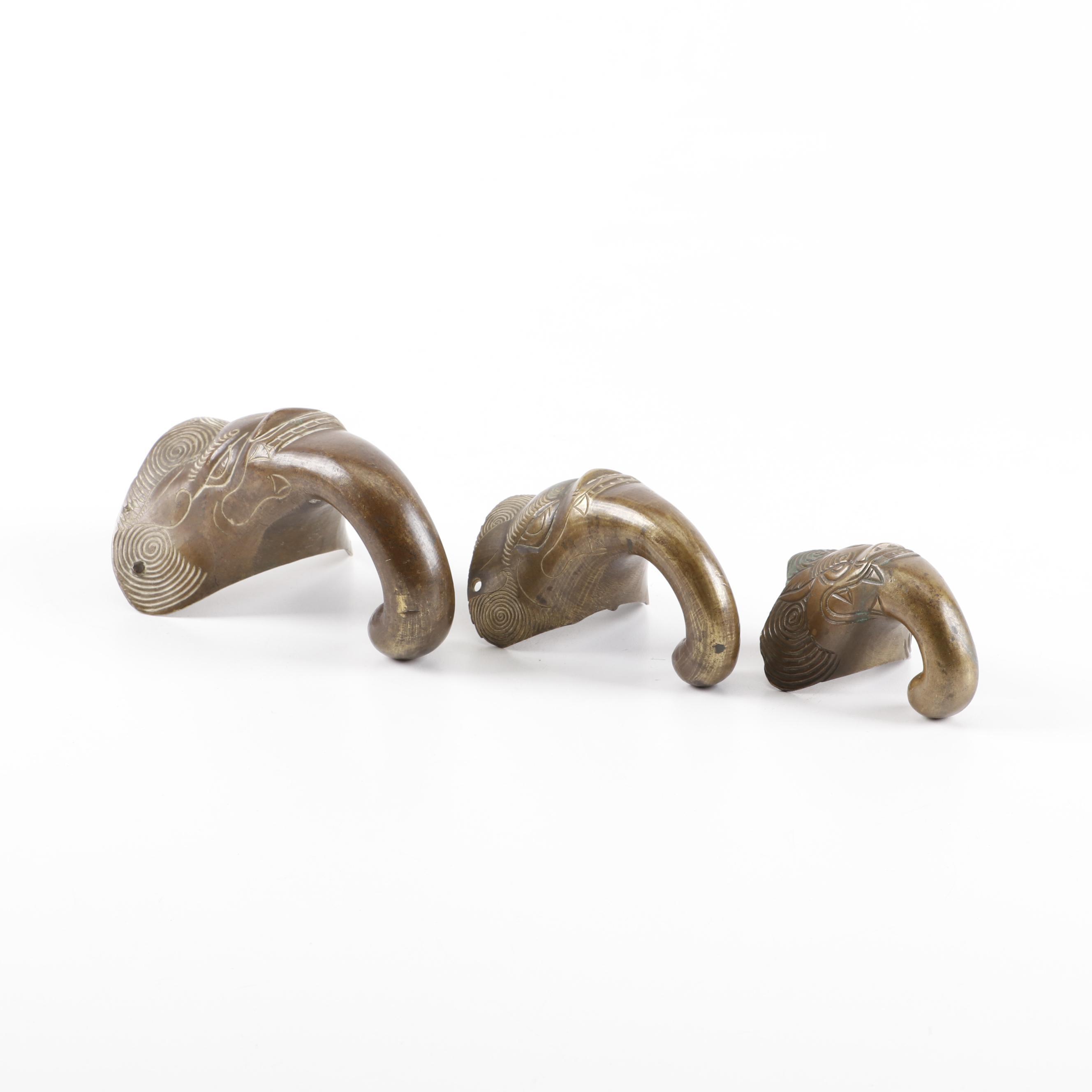 Southeast Asian Etched Brass Elephant Motif Decor