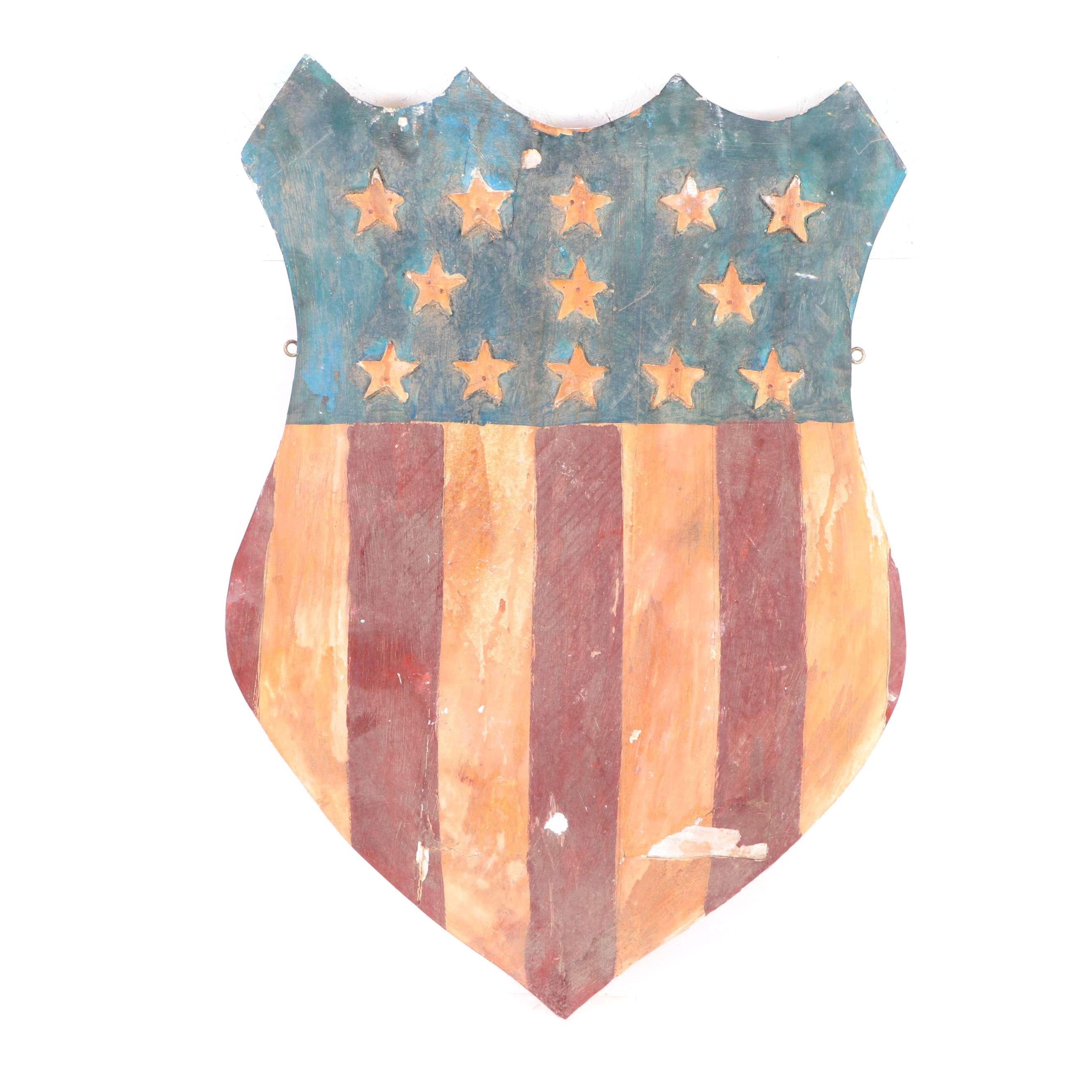 Wooden Folk Art American Flag Shield