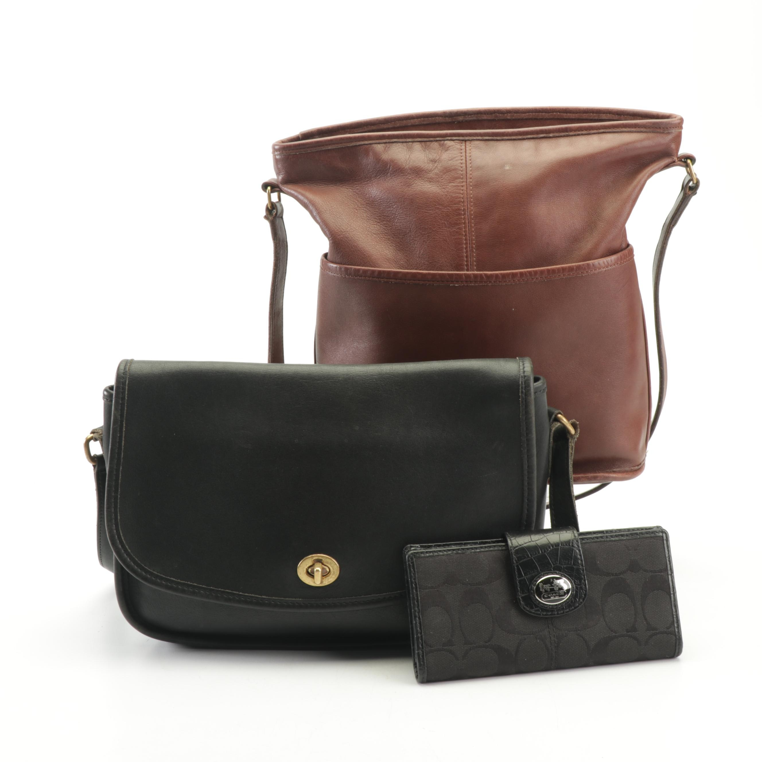 Coach Black Leather City Bag, Brown Leather Shoulder Bag and Signature Wallet