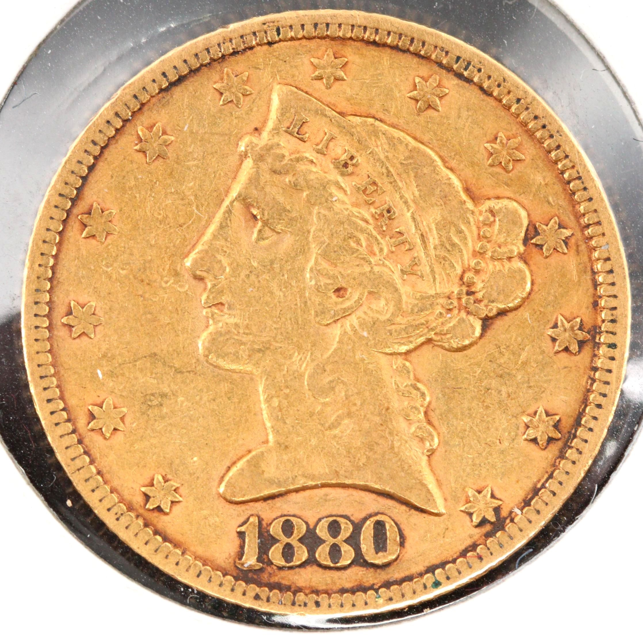 1880 Liberty Head $5 Half Eagle Gold Coin