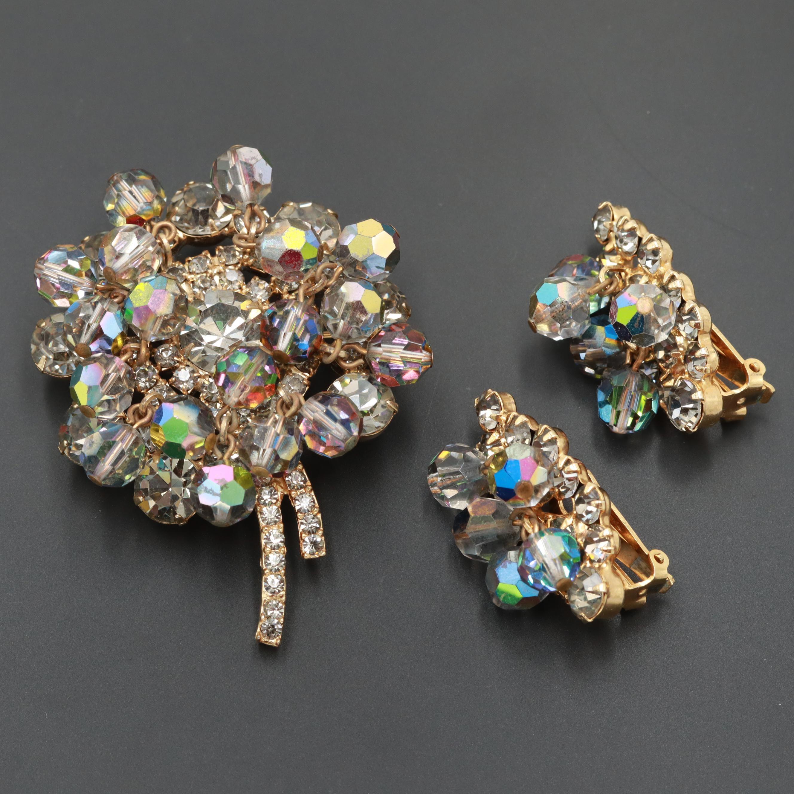 Vintage Juliana Gold Tone Glass and Foilback Glass Brooch and Earrings Set