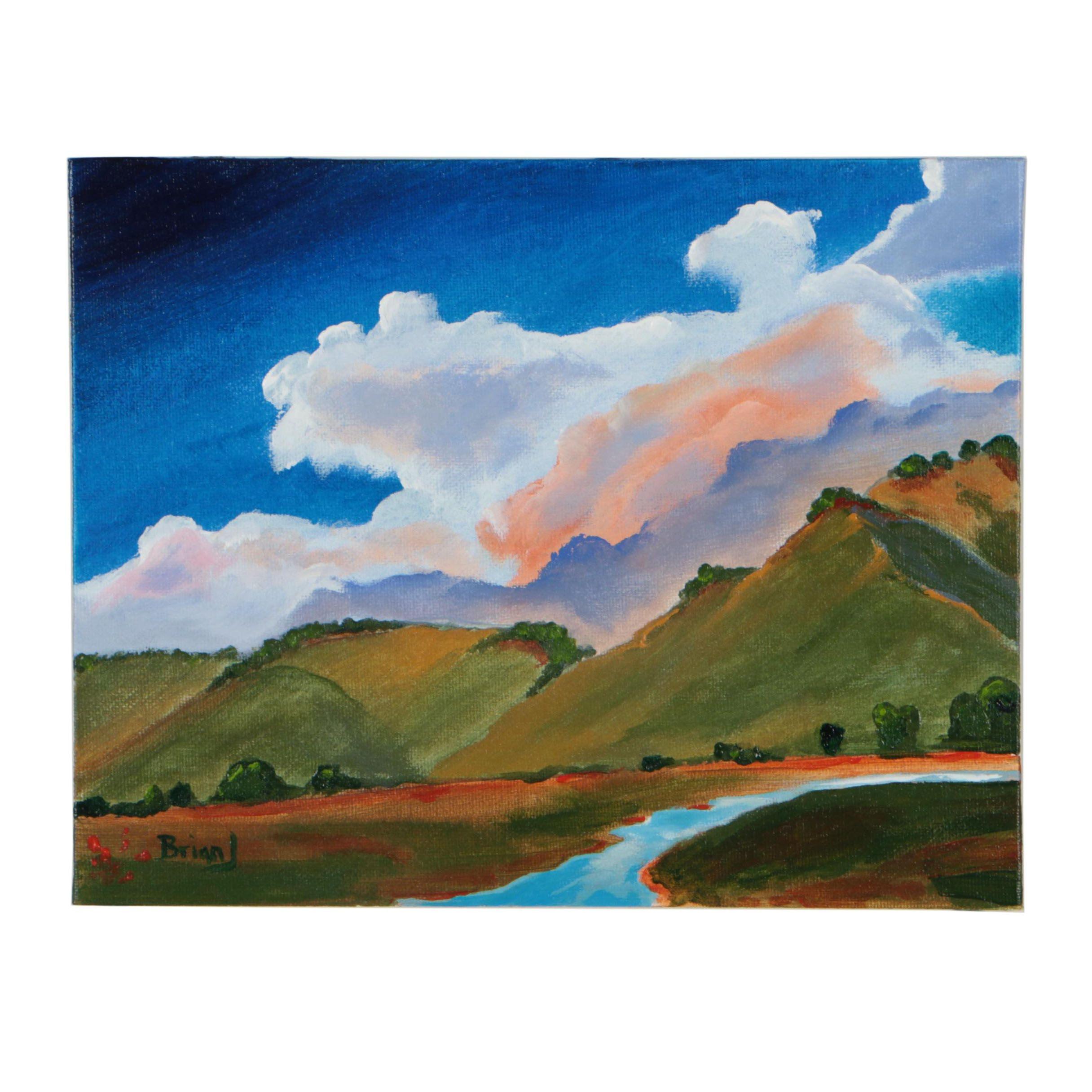 "Brian Johnpeer Landscape Acrylic Painting ""California Hills"""