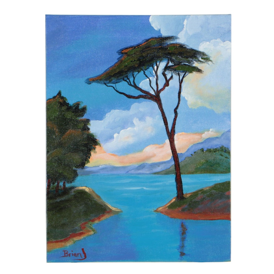 """Brian Johnpeer Landscape Acrylic Painting """"Pre Storm"""""""