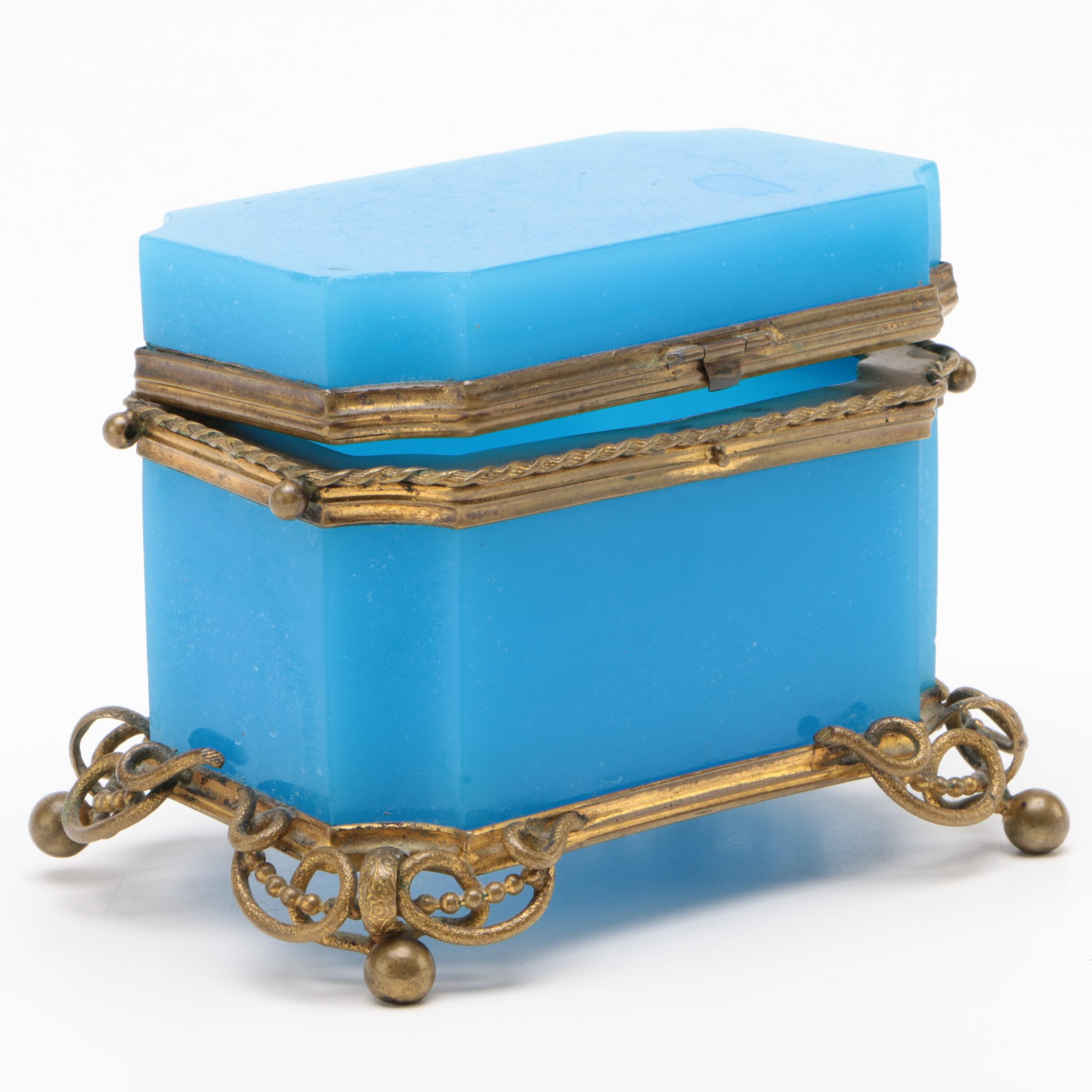 French Blue Opaline Glass Casket, 19th Century